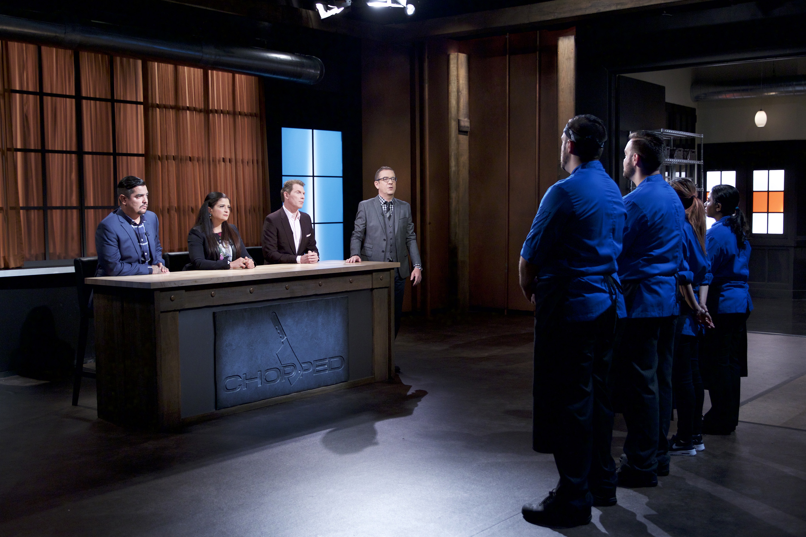 Judges Aarón Sánchez, Alex Guarnaschelli, and Bobby Flay with Host Ted Allen on Food Network's Chopped: Beat Bobby Flay