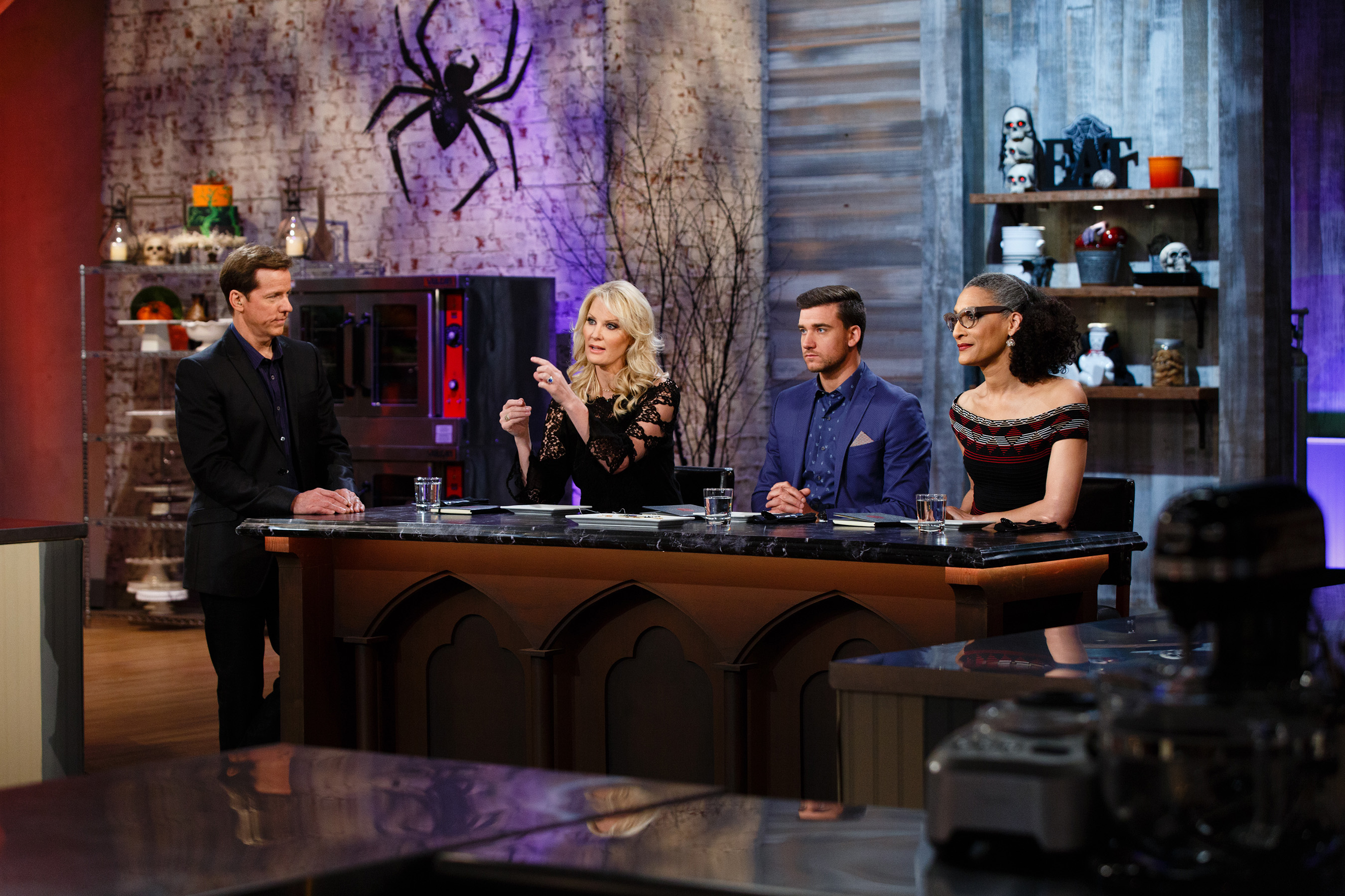 Host Jeff Dunham with Judges Sandra Lee, Damiano Carrara and Carla Hall