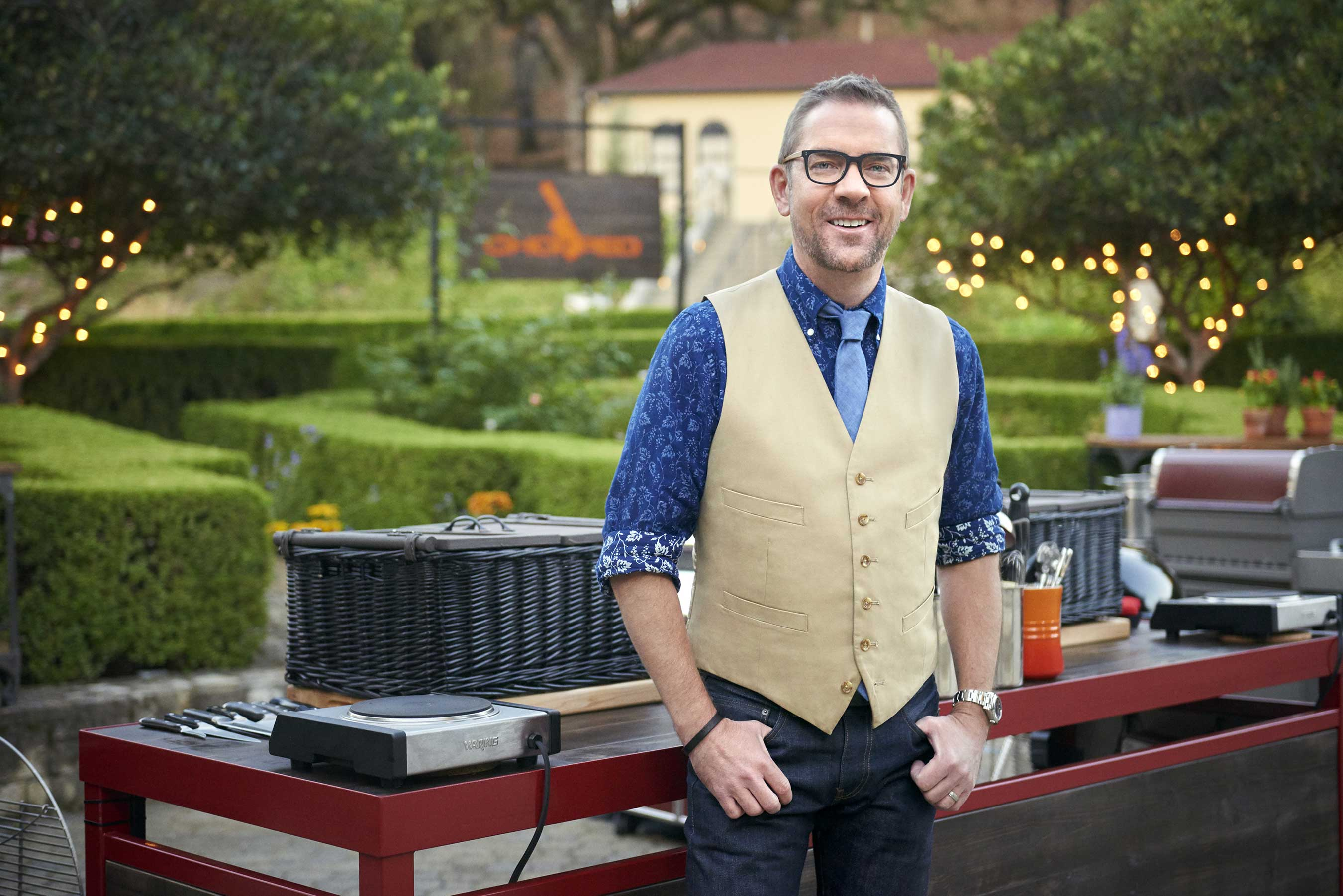 Host Ted Allen on Food Network's Chopped Grill Masters Napa.
