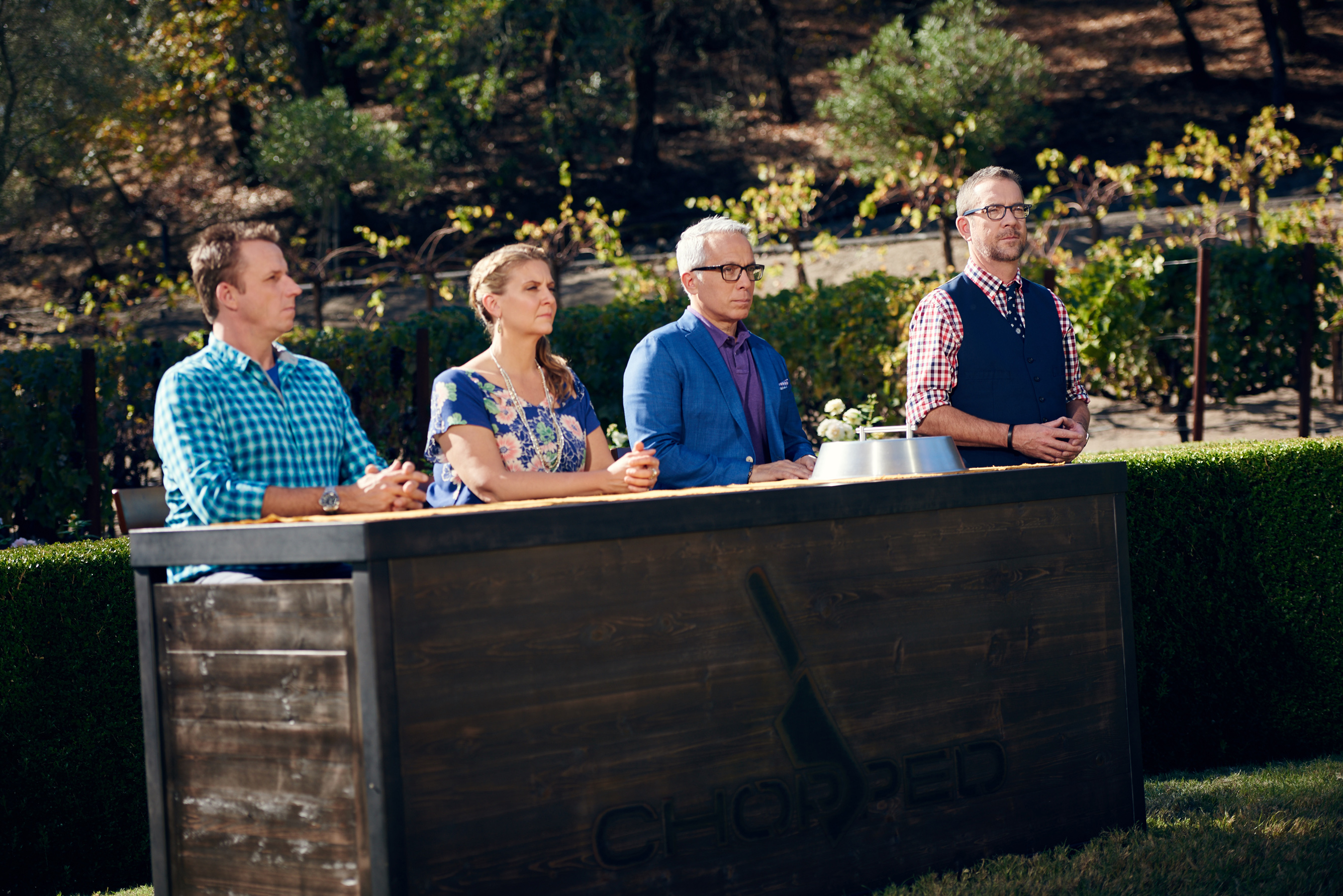 Host Ted Allen with judges Marc Murphy, Amanda Freitag and Geoffrey Zakarian on Food Network's Chopped Grill Masters Napa.