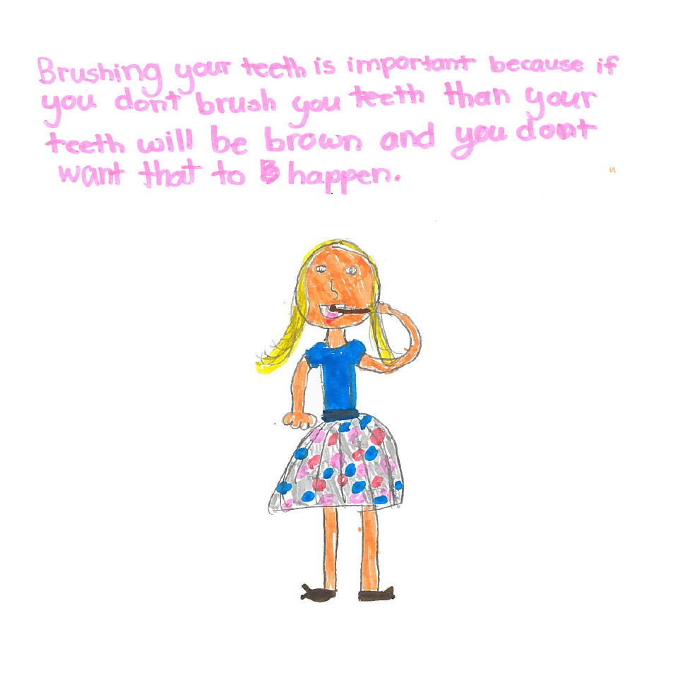 One child's picture that explains why brushing your teeth is so important.