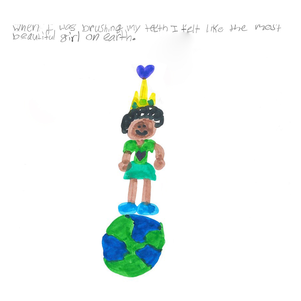 When asked to draw why she liked the new Philips Sonicare For Kids power toothbrush, this child drew herself as the most beautiful girl on earth.
