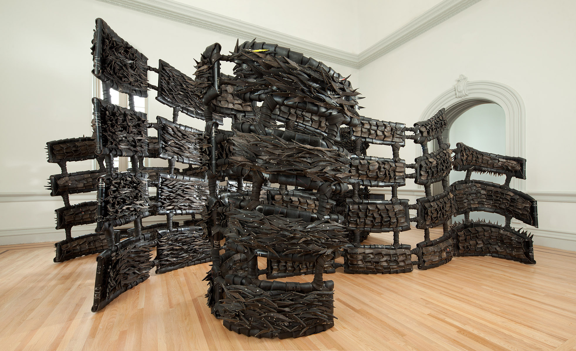Chakaia Booker, ANONYMOUS DONOR, 2015. Renwick Gallery of the Smithsonian American Art Museum. Photo by Ron Blunt.