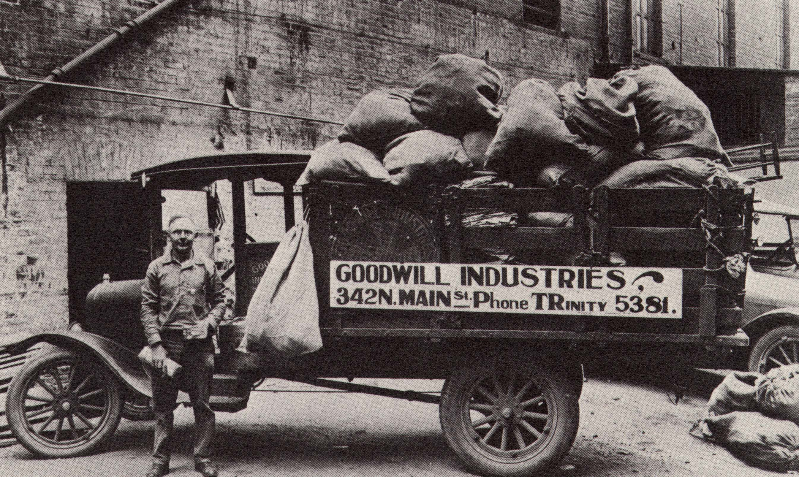 Goodwill asked people to donate clothes in need of repair and collected them in burlap sacks. Helms then employed people to mend the clothes for a daily wage and sold the items back to the community.