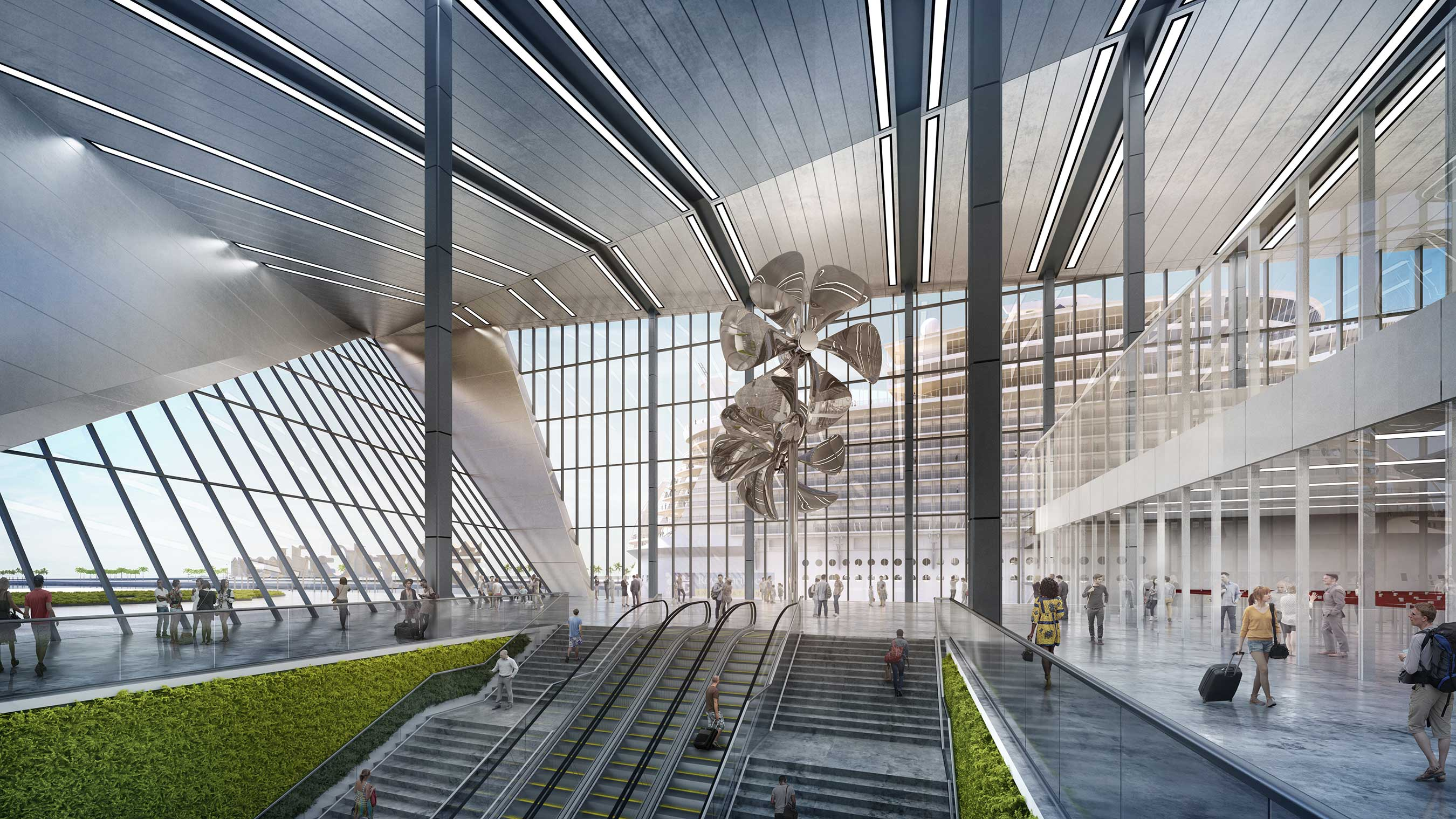 The Grand Hall of Royal Caribbean Cruises Ltd.'s (RCL) iconic terminal at PortMiami. Intuitive, bold design will bring this state-of-the-art terminal to life in late 2018.