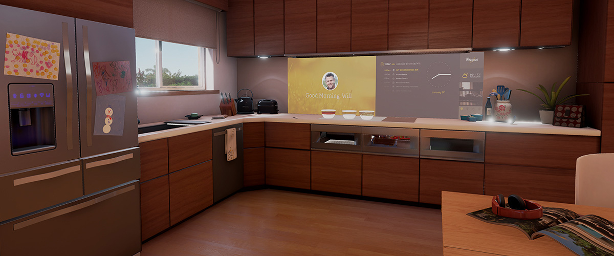 The Interactive Kitchen of the Future concept focuses on ways technology can help families care for each other by anticipating, orchestrating and helping personalize the cooking experience.