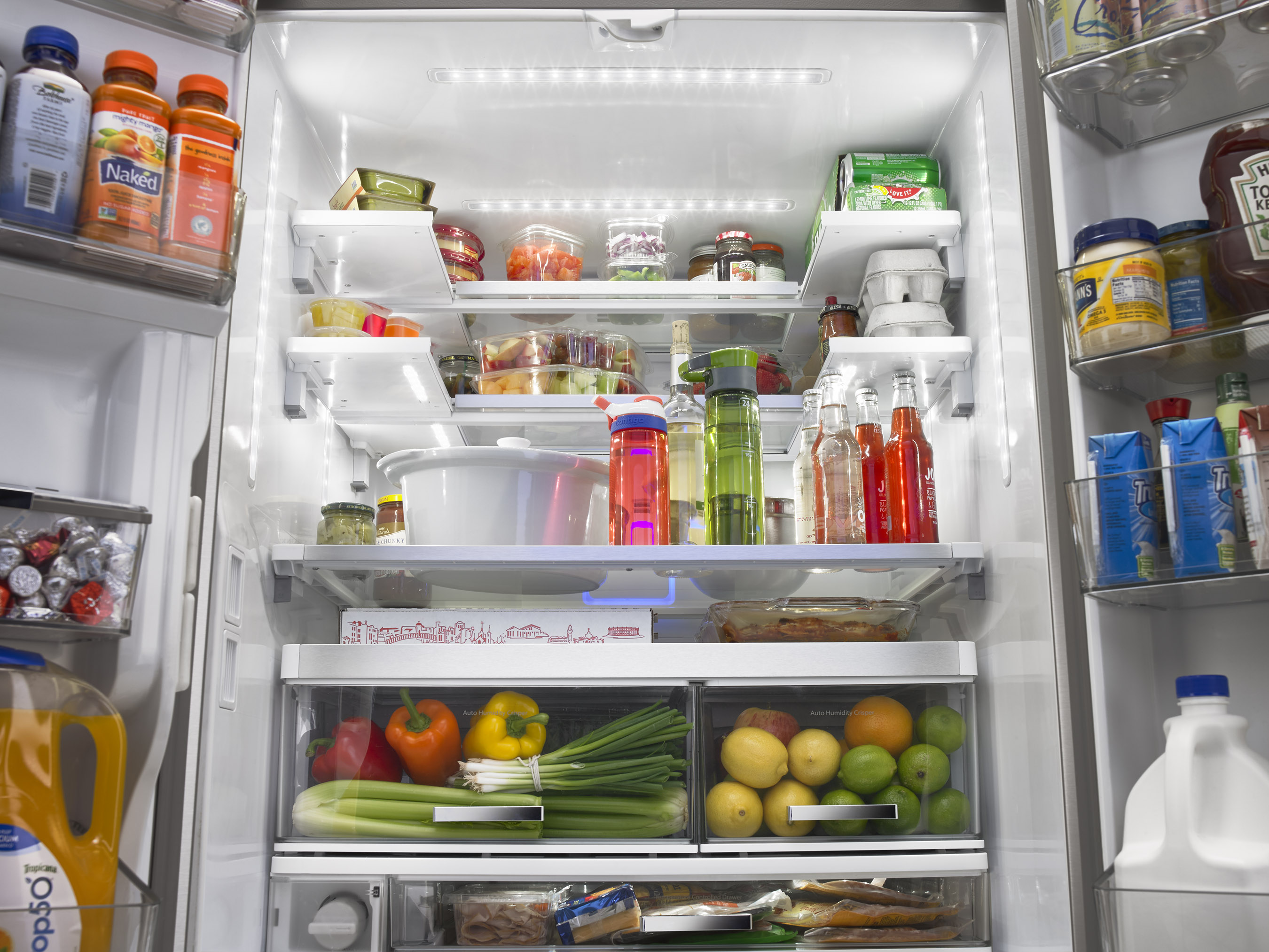 Completely re-imagined on the inside, the Whirlpool® Smart French Door Refrigerator is inspired by the pantry and designed to use space more efficiently so families can fit and find it all.