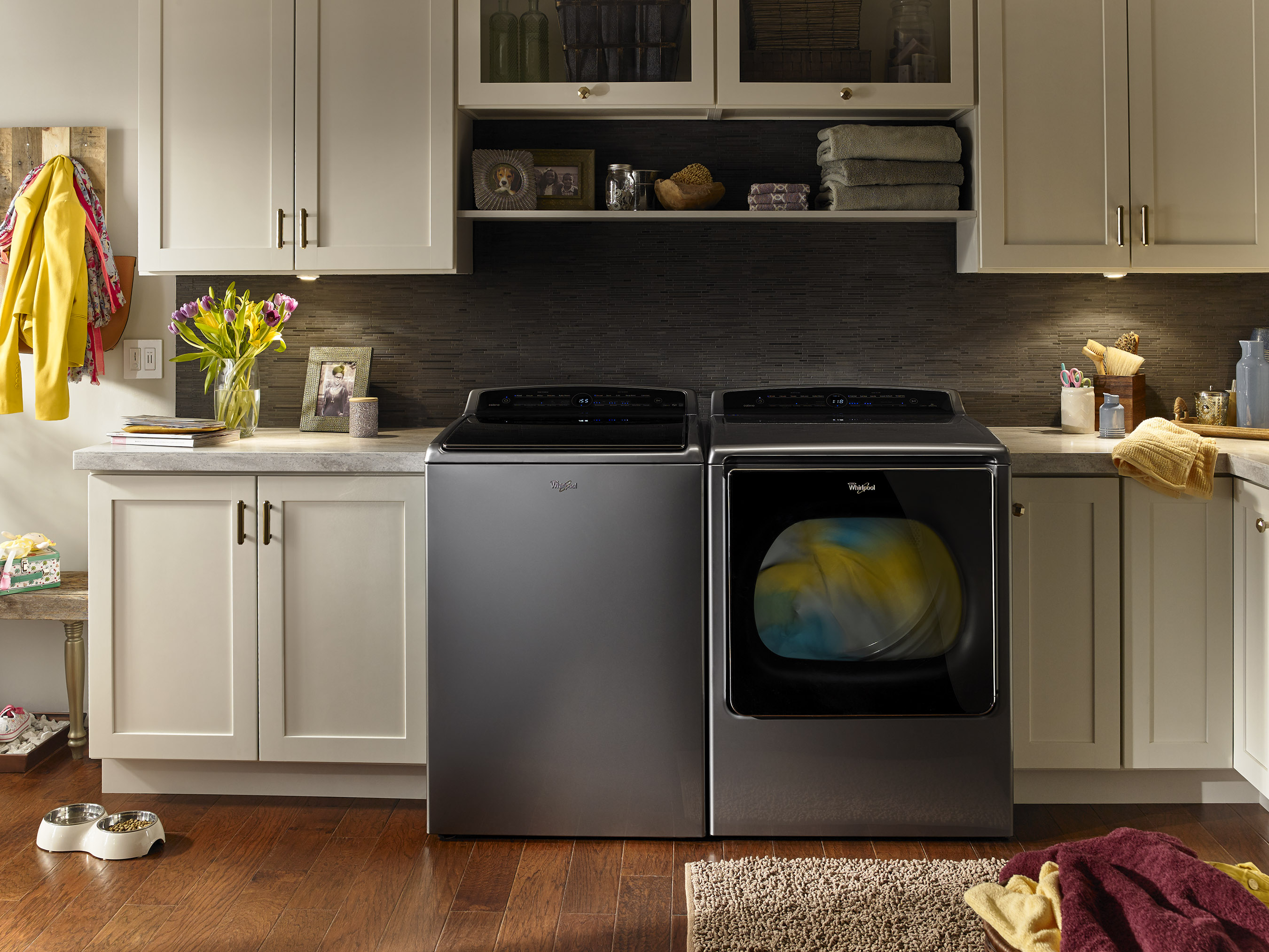The Whirlpool® Smart Top Load Washer and Dryer introduces the use of technology to power philanthropic donations and ability to auto re-order laundry supplies.