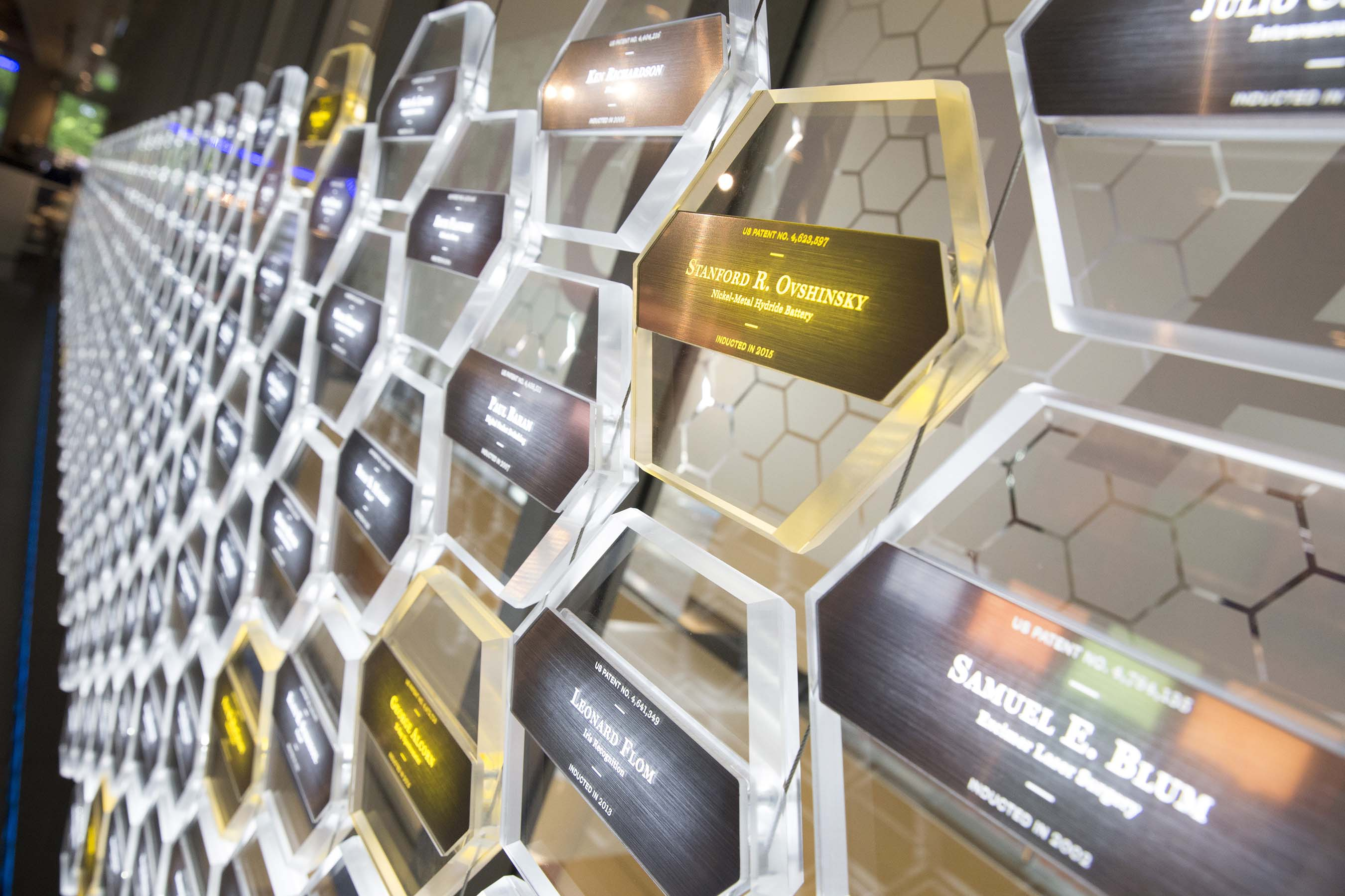 The individual hexagons, located within the museum, represent each National Inventors Hall of Fame Inductee. Together, they build the National Monument to Innovation™.