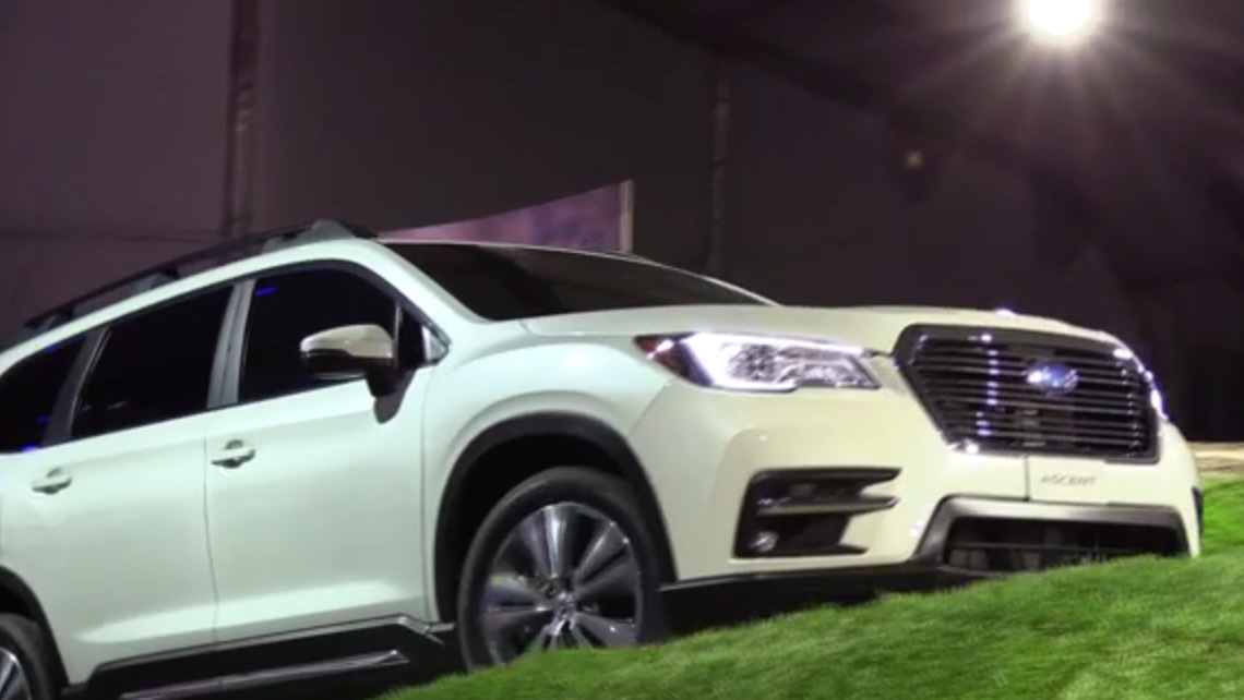 all new 3 row subaru ascent makes world debut at los angeles auto show with dogs behind the wheel. Black Bedroom Furniture Sets. Home Design Ideas