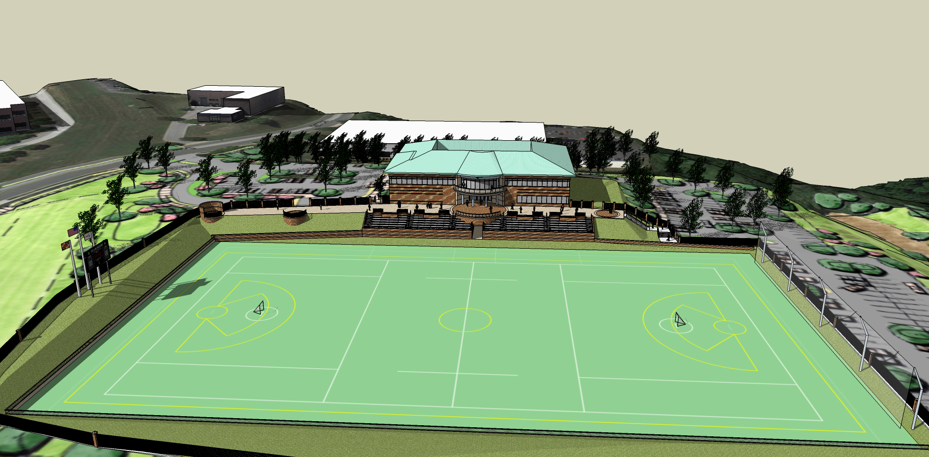 Lacrosse state of the art new Headquarters in Sparks, MD. Full size Lacrosse field for the USA National Mens and Women's teams. GreenFields Turf to be installed.