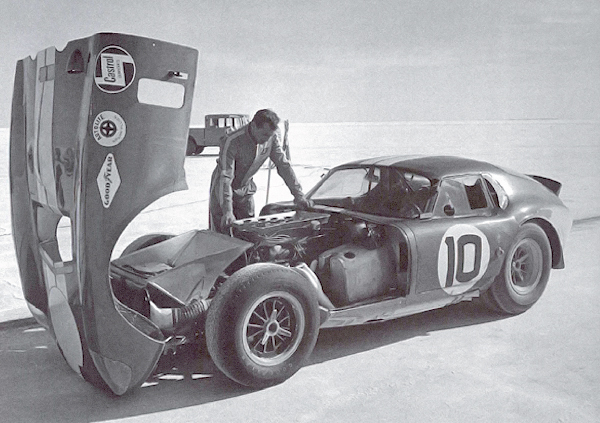 Craig Breedlove and Peter Brock next to the historic Shelby Cobra Daytona Coupe