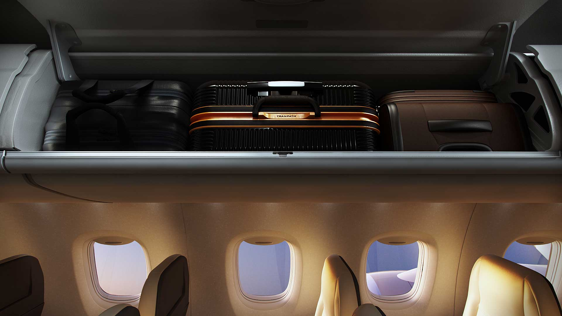 The MRJ's overhead bins can accommodate the maximum-sized carry-on bags currently allowed by airlines