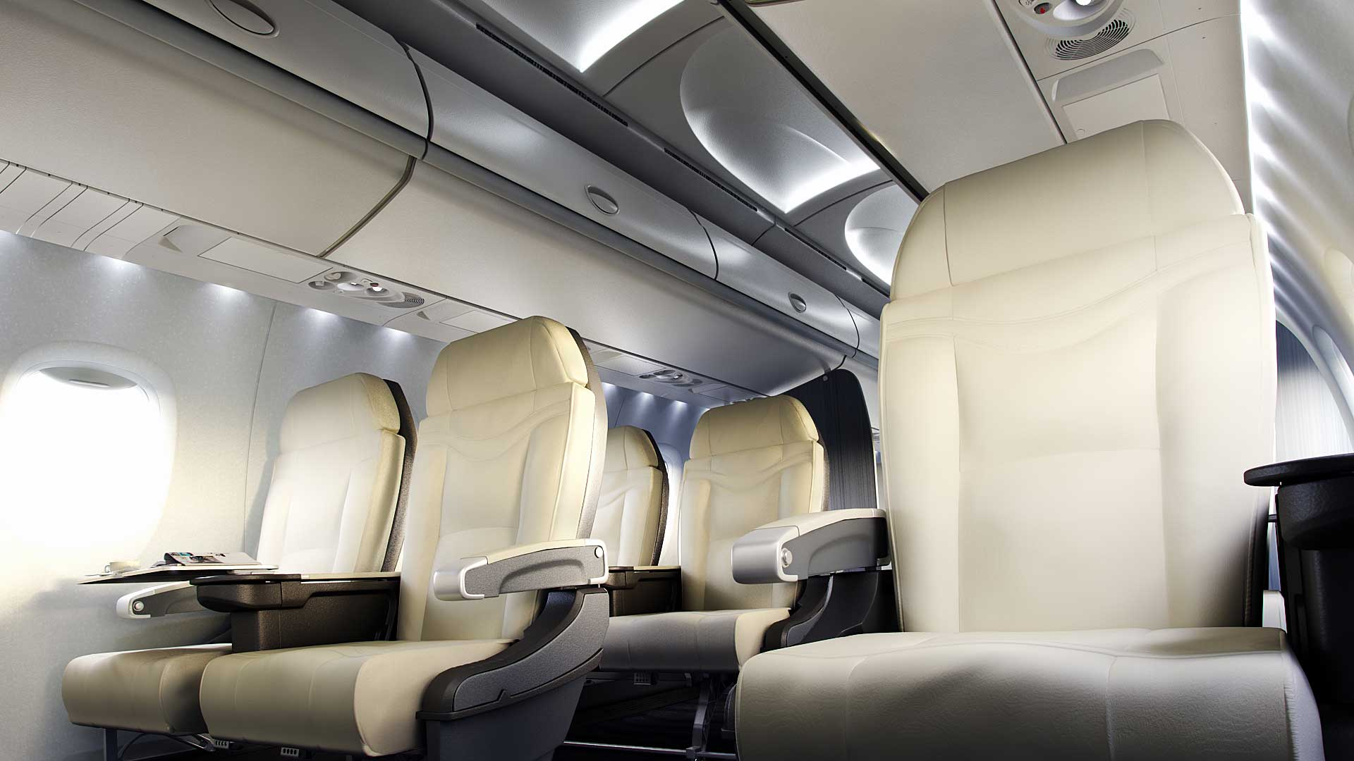 Class-leading height and width contribute to the bright and airy surroundings. Slim-seat design increases legroom without compromising comfort while the widest economy-class seats and larger overhead bins complete the package for a big-jet feel.