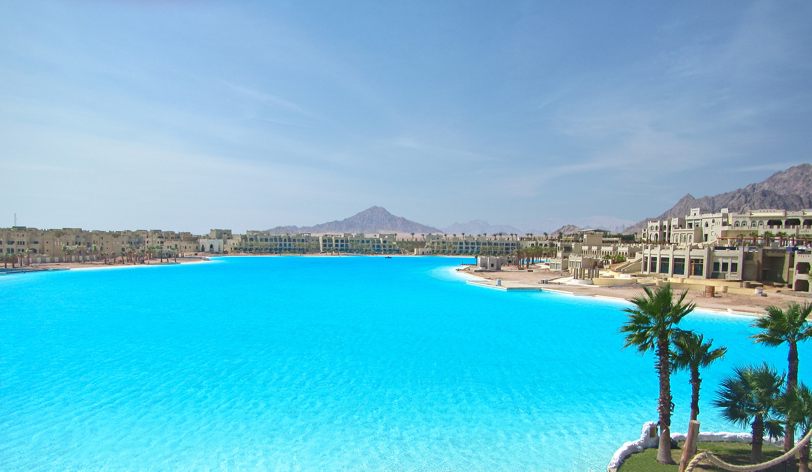 The 30-acre Crystal Lagoon is the main attraction of Citystars Sharm El Sheikh, a popular tourist resort in one of Egypt's most luxurious coastal towns.
