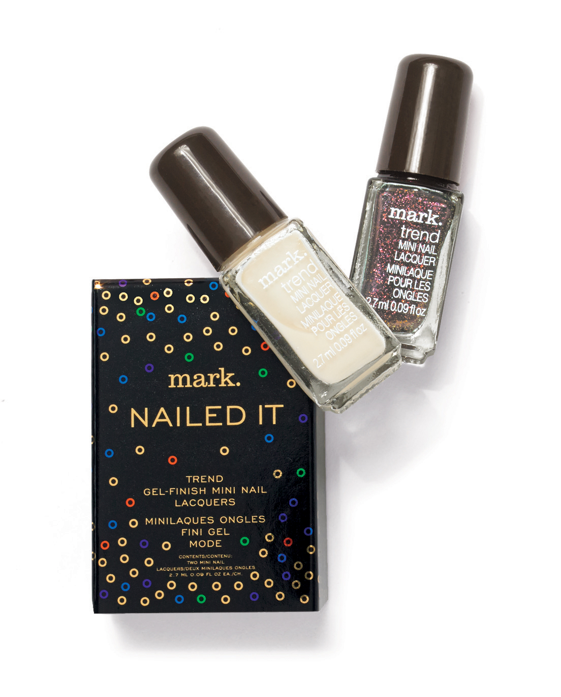 These high-impact nail polishes deliver gel-like shine in two limited-edition shades: eggnog, a deliciously creamy white, and sugar plum, a dreamy shimmering marsala.