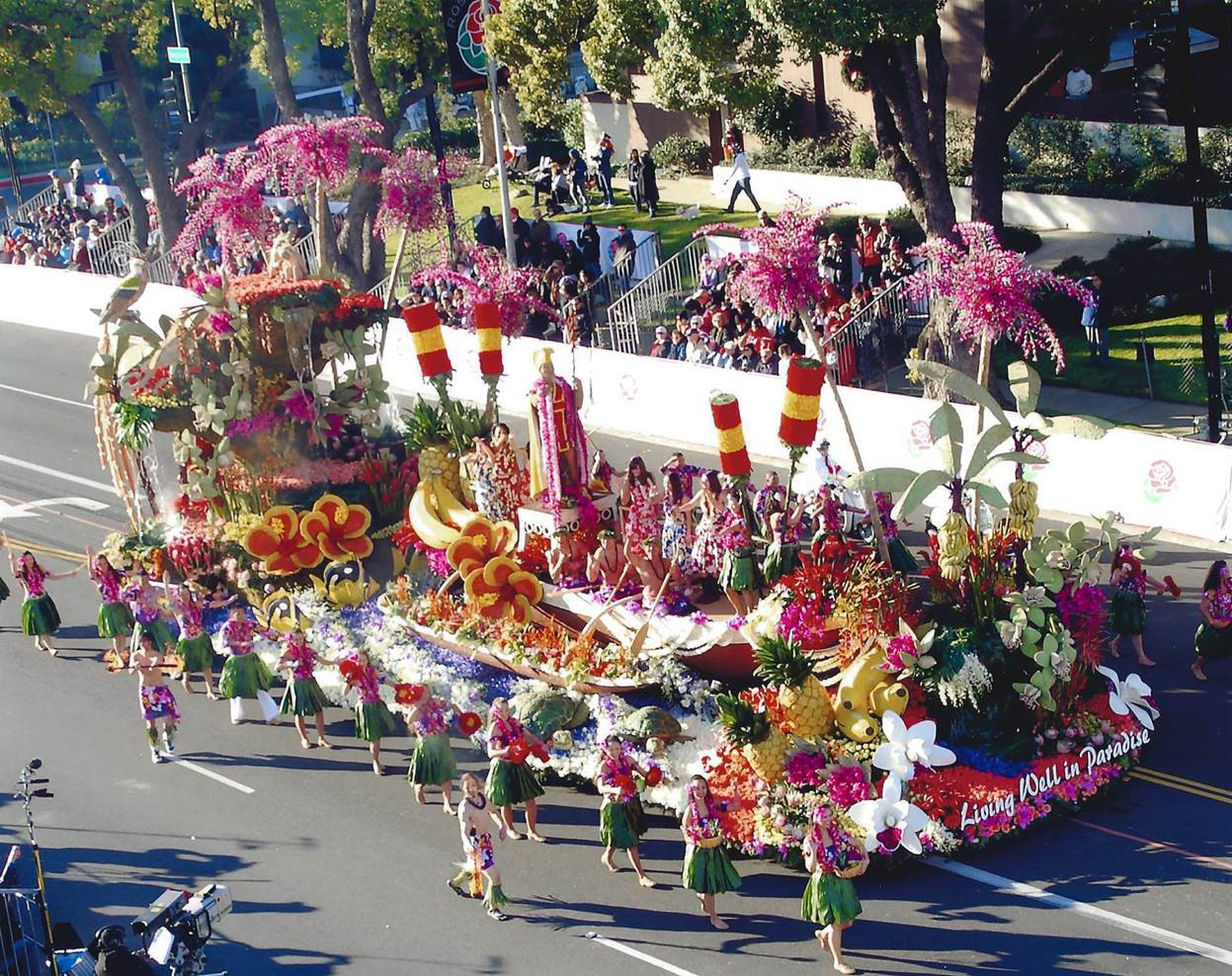 "Dole's debut in the Rose Parade, ""Living Well in Paradise"" represented the tropical paradise of Hawaii, where Dole was founded more than 100 years ago. Dole is committed to keeping paradise alive."