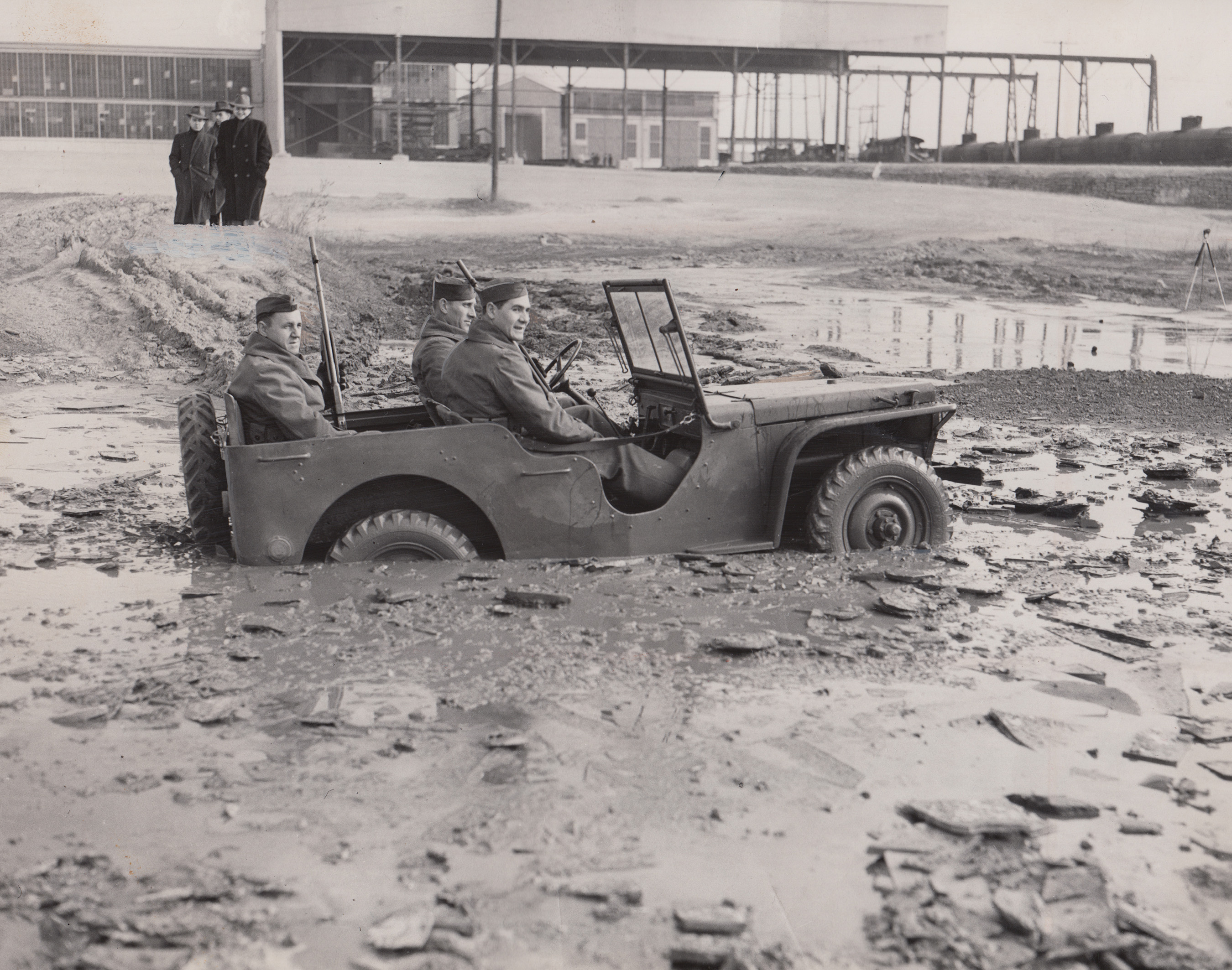 The 1940 Ford Pilot Model GP-No. 1 Pygmy, during initial testing after delivery to the U.S. Army Quartermaster Corps at Camp Holabird in Baltimore on 23 November 1940. (Photo courtesy of the U.S. Veterans Memorial Museum)