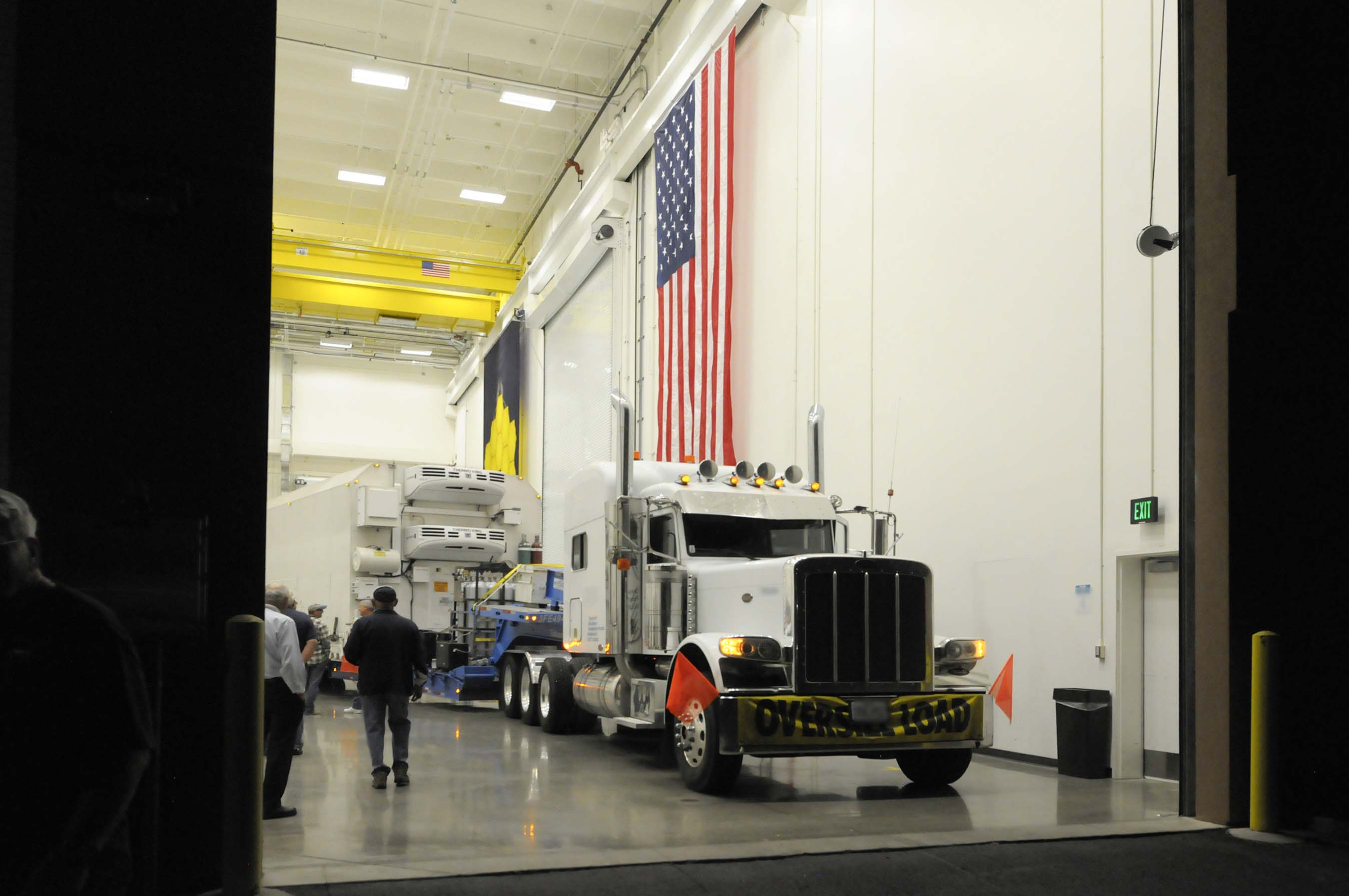Delivery truck carrying the NOAA JPSS-1 departs from Ball Aerospace in Boulder, Colo. and will arrive at Vandenberg Airforce Base. CREDIT: Ball Aerospace