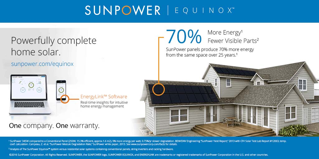 With a typical SunPower Equinox™ installation, only the solar panels and a Smart Energy management device are visible, reflecting SunPower's minimalist architectural approach at the system level.
