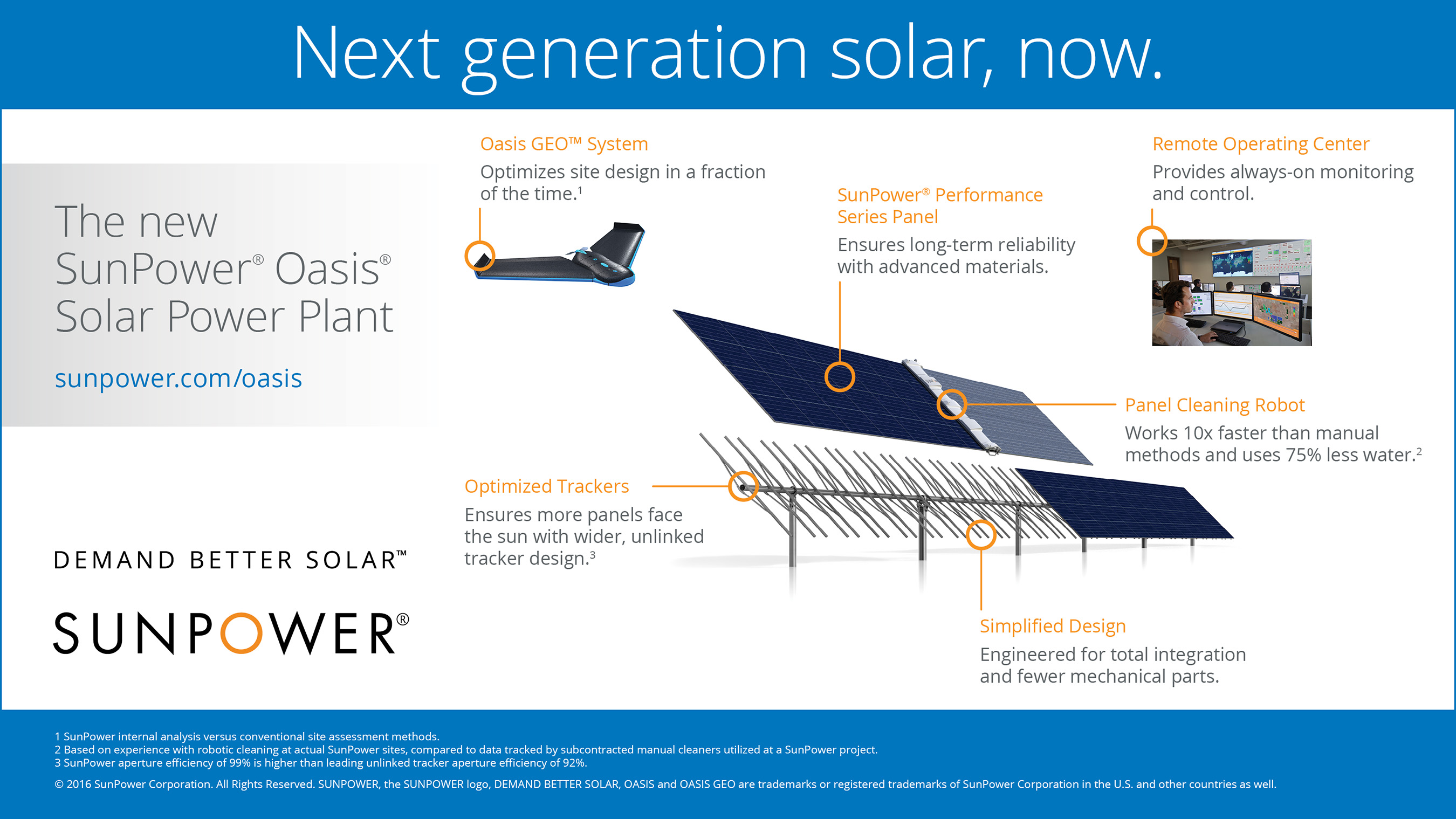 SunPower(R) Oasis(R) platform for large-scale solar power plants, featuring a seamless integration of hardware and software.