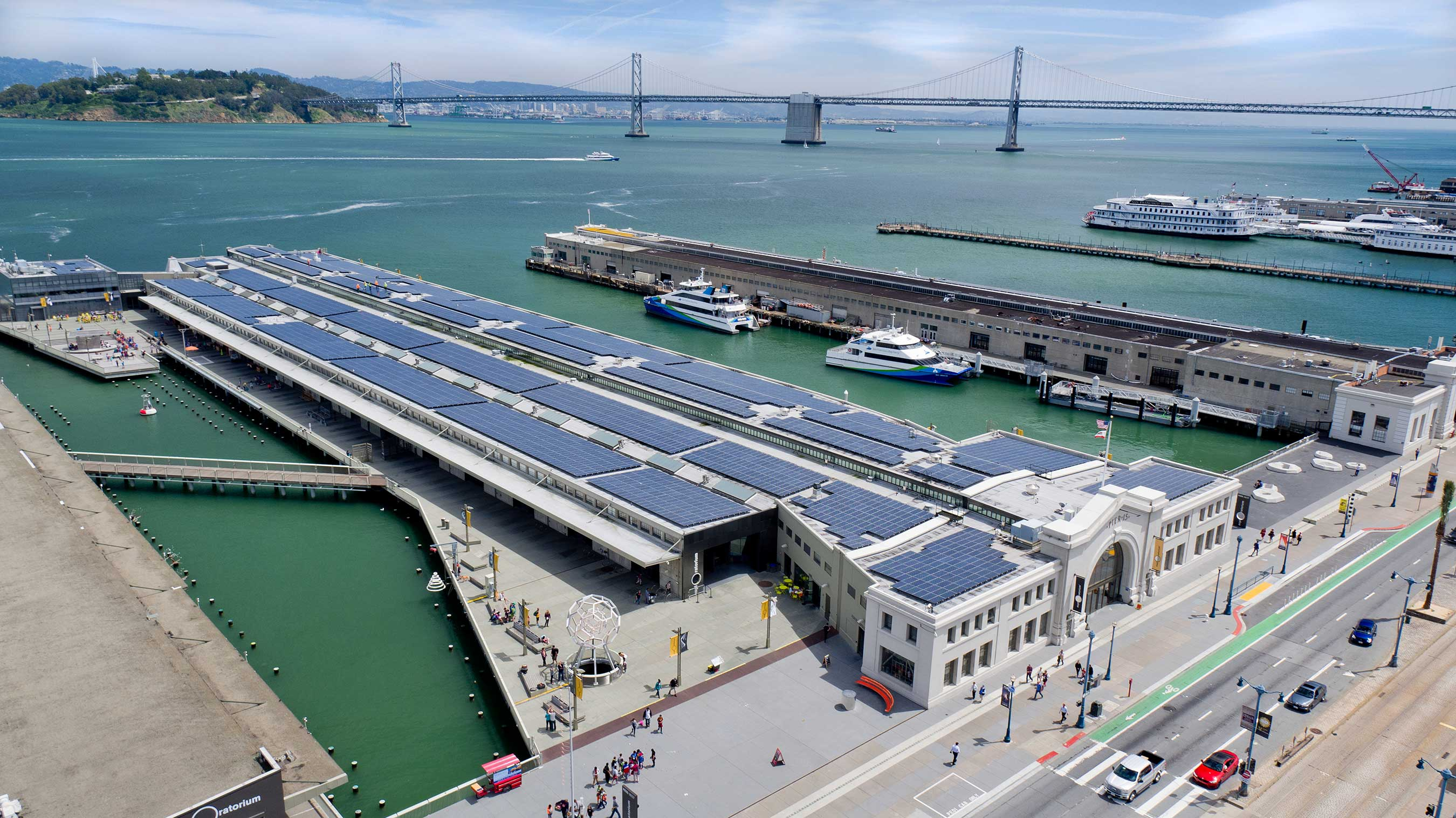 The Exploratorium's sustainable home in San Francisco, California, is certified LEED Platinum® and features a 1.3-megawatt SunPower system to meet about 80 percent of its electricity needs.