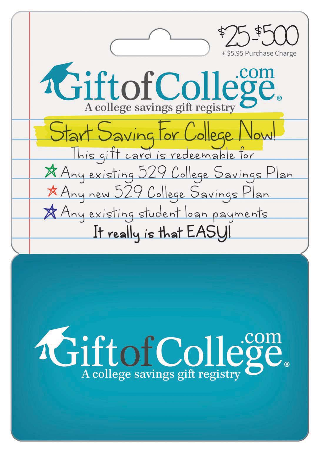 Gift of College card distributed by InComm across the nation