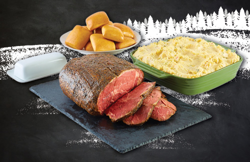 Prime Rib Feasts are also available at Dickey's and include Prime Rib, baked potato casserole and buttery rolls