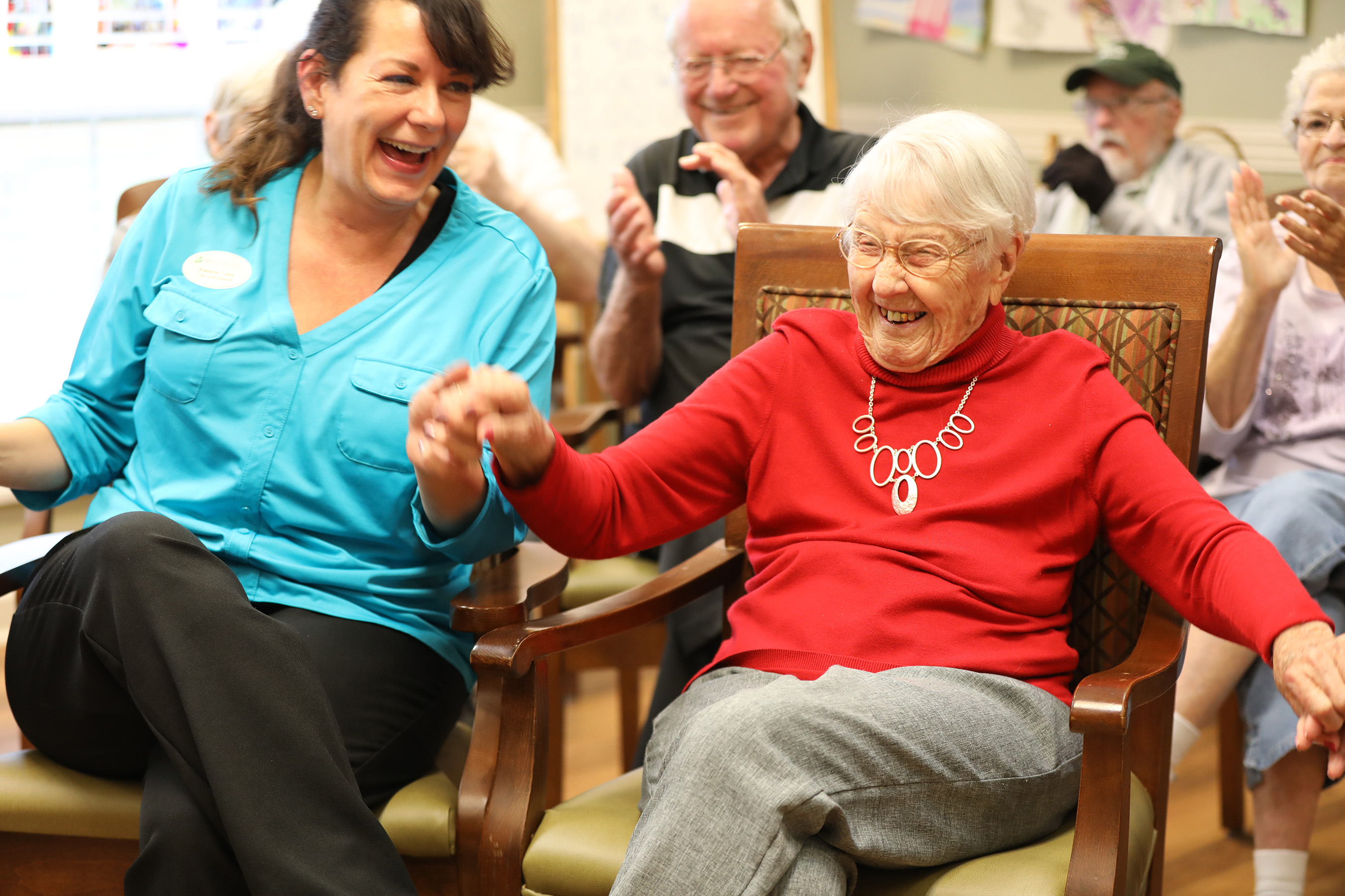 Dorothy is a Brookdale memory care resident who loves listening to music with her care partner, Pamela.