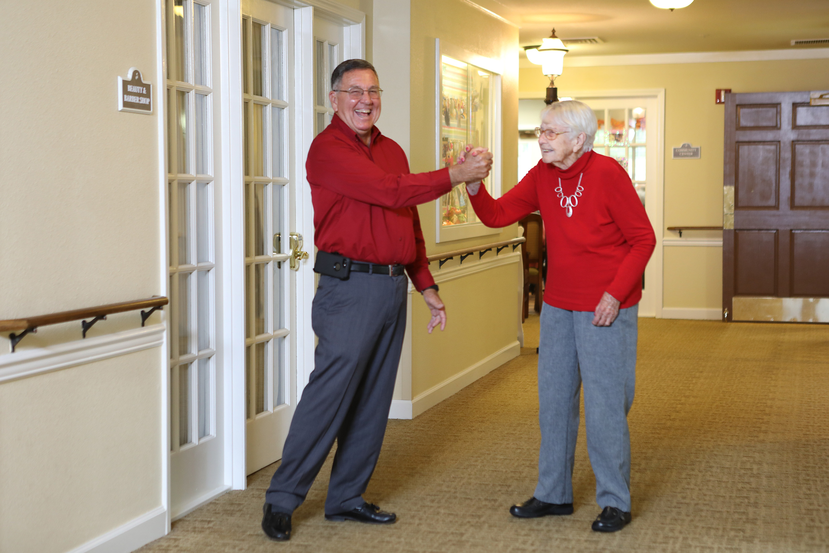 Dorothy's son, Gary, visits her often at Brookdale College Square. They enjoy taking walks and participating in activities.