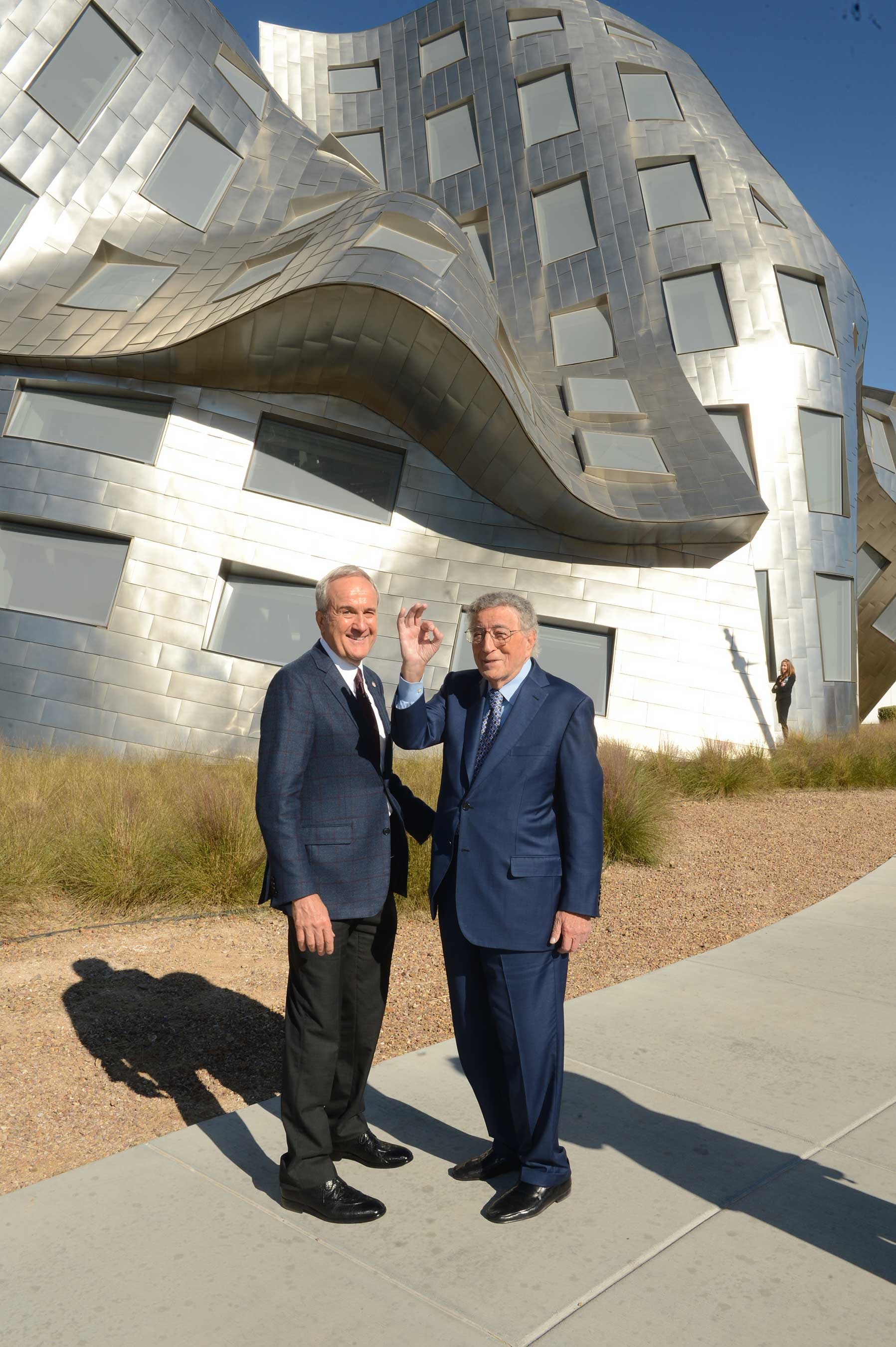 Keep Memory Alive founder Larry Ruvo (L) and 2016 Power of Love gala honoree Tony Bennett outside the iconic Keep Memory Alive Event Center at Cleveland Clinic Lou Ruvo Center for Brain Health