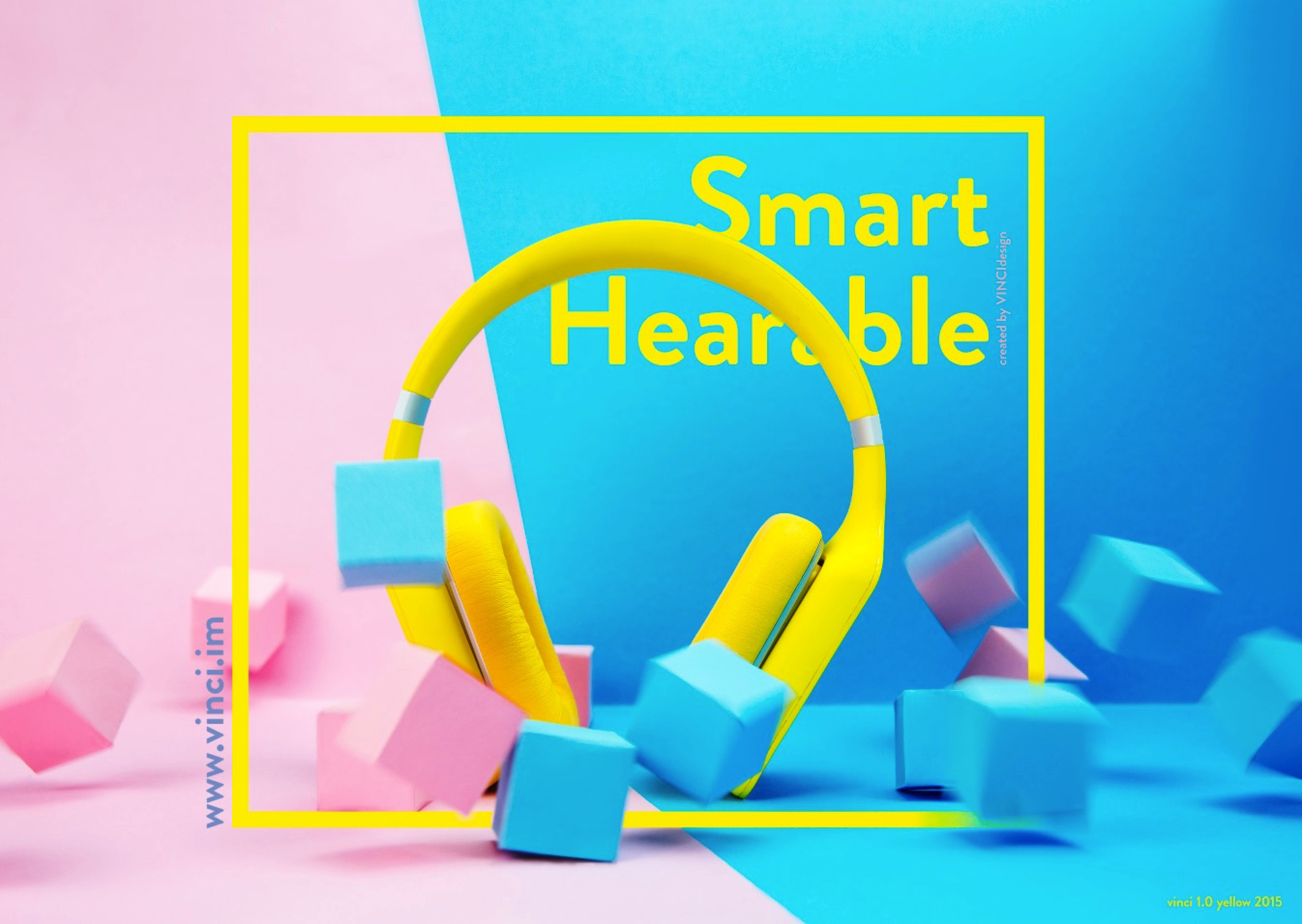 A VINCI Smart Hearable device in folk yellow from the official Facebook page of VINCI.