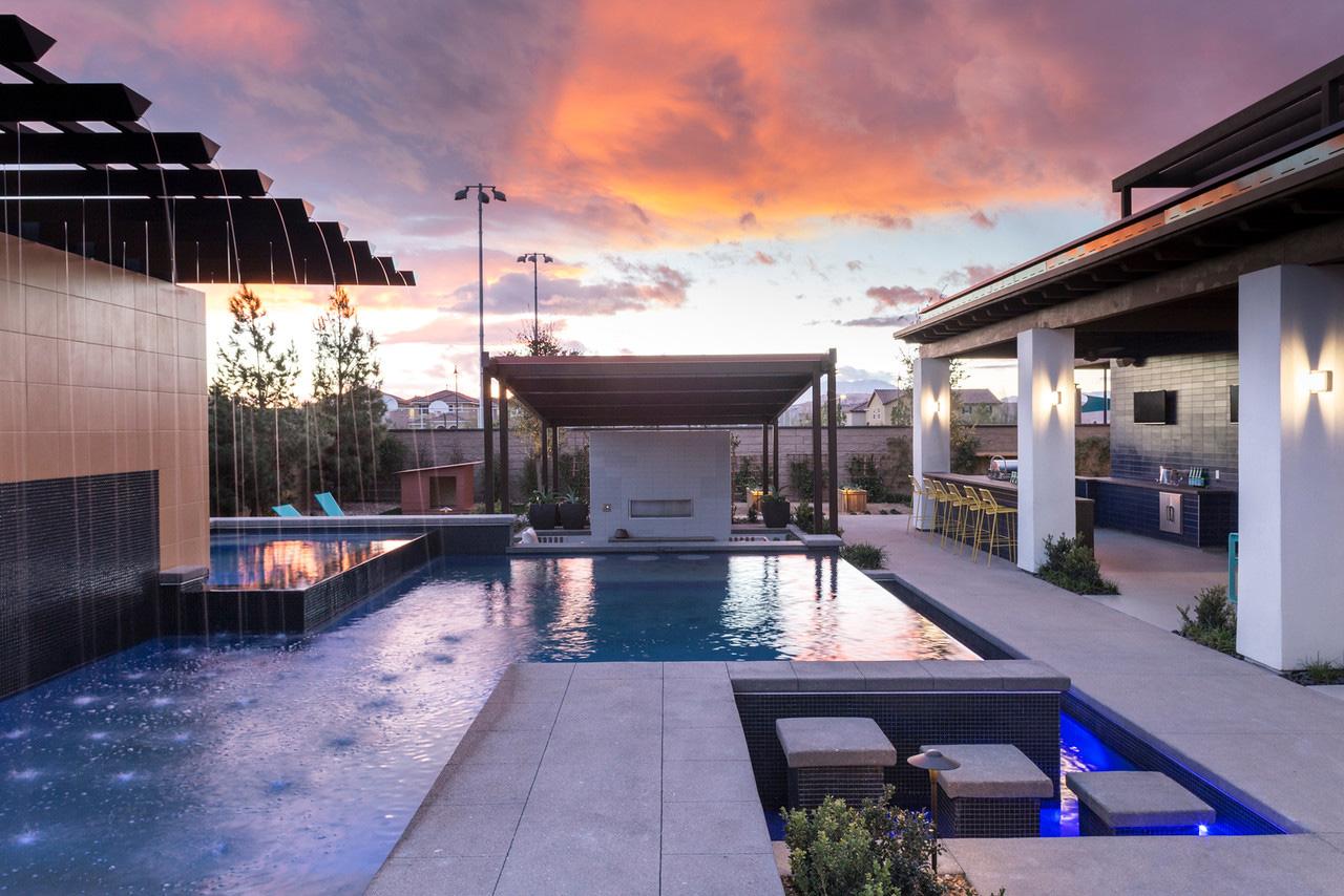 Contemporary Transitional Backyard Pool Area