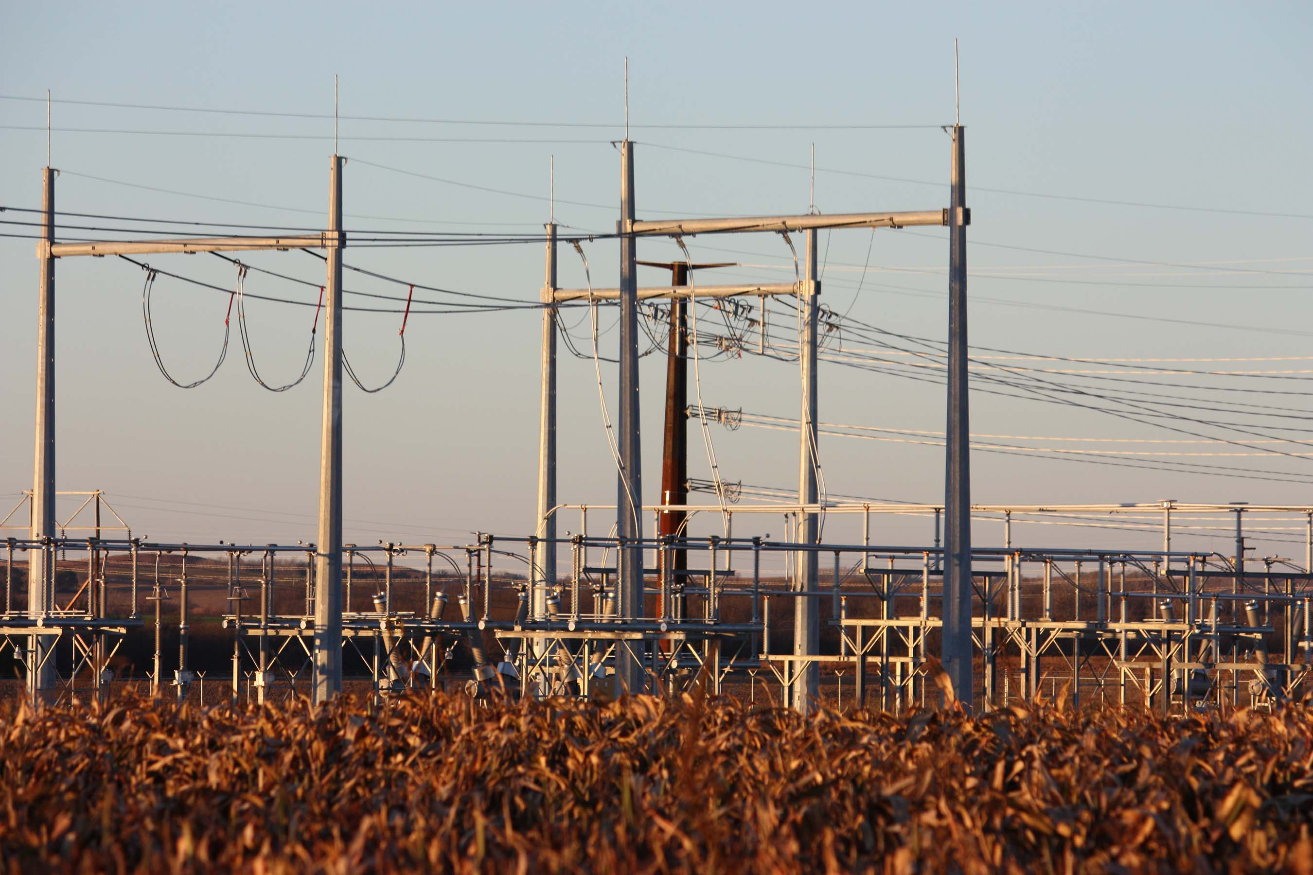 The new Elm Creek substation, southeast of Concordia, Kansas, marks the northern end of the Elm Creek-Summit transmission line.