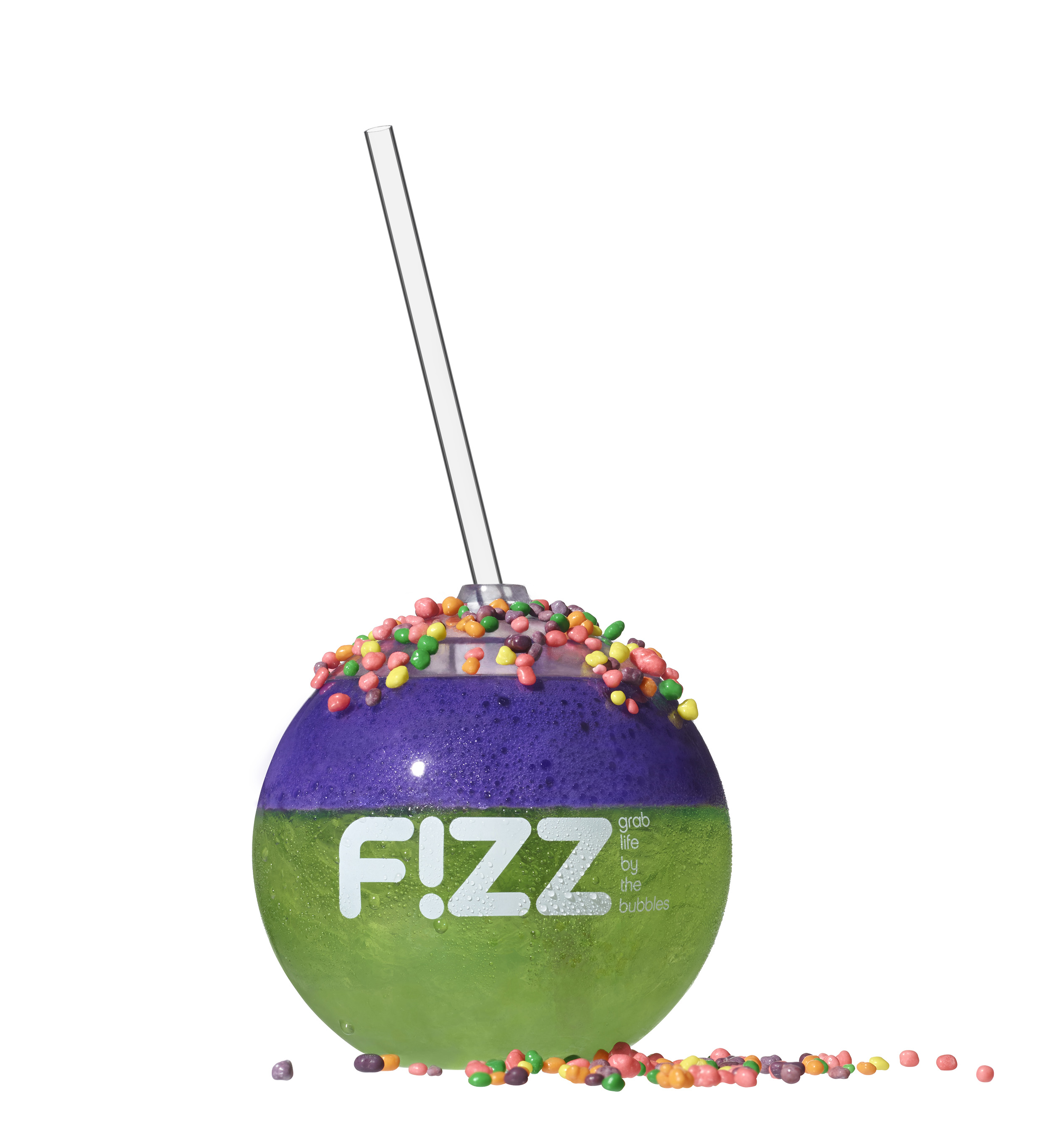 """Limebacker Blitz"" combines Mountain Dew or Diet Mountain Dew, lime & coconut flavor shot, grape foam, green apple pop rocks and nerds #discoverfizz"