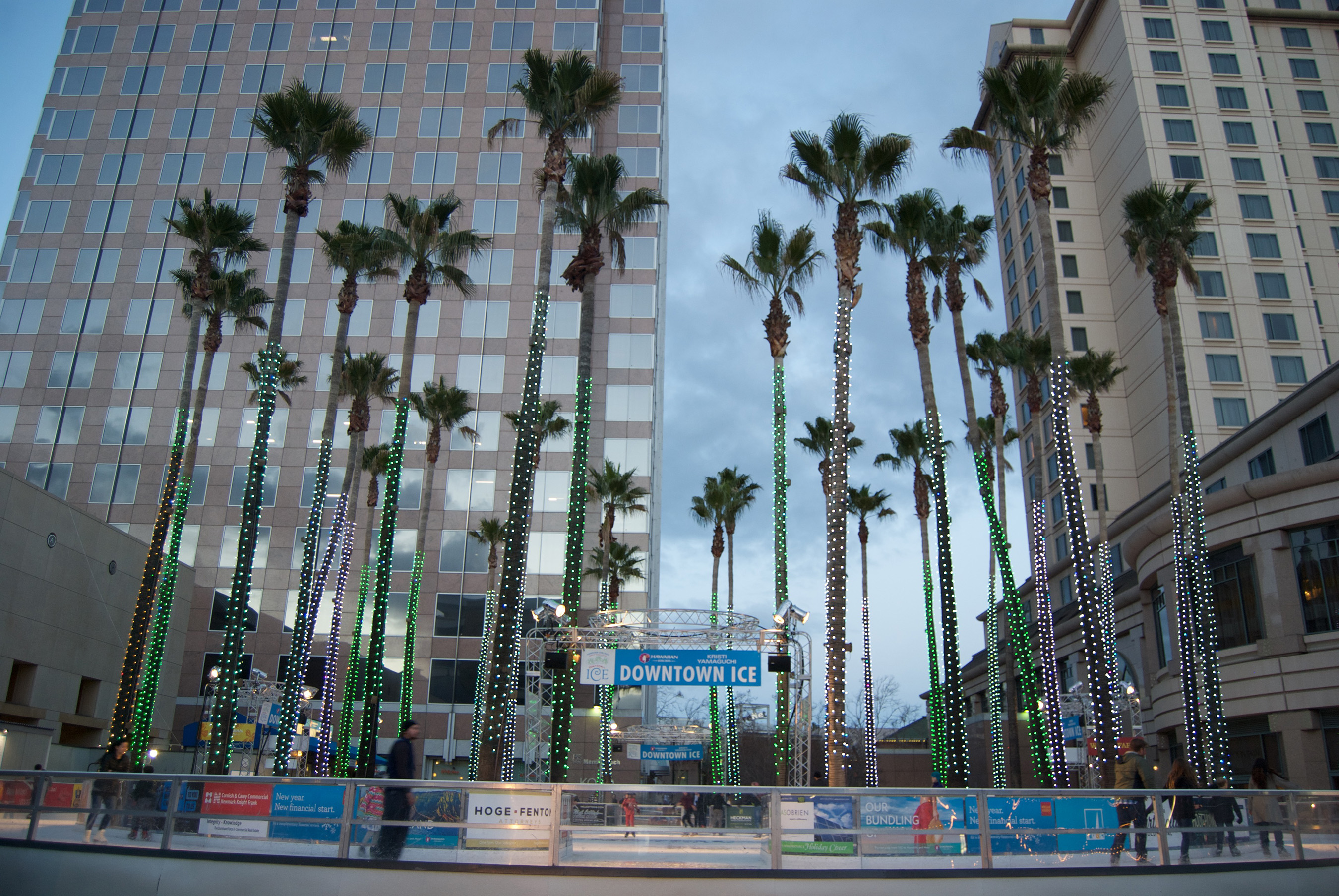 Visitors can enjoy ice skating under palm trees and dancing lights throughout Game Week.