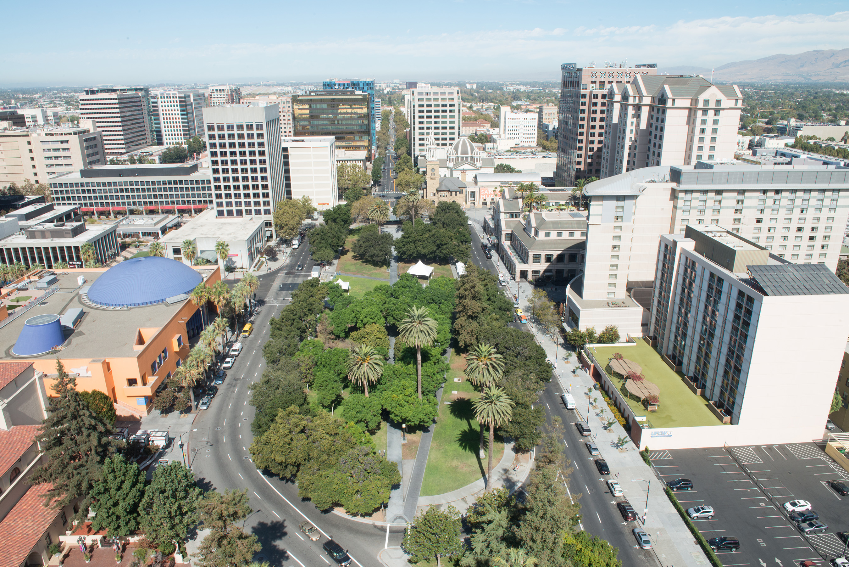 This historic park in the center of Downtown San Jose will feature an outdoor cafe and beer garden, Information Center, mini-football field, and informal games.