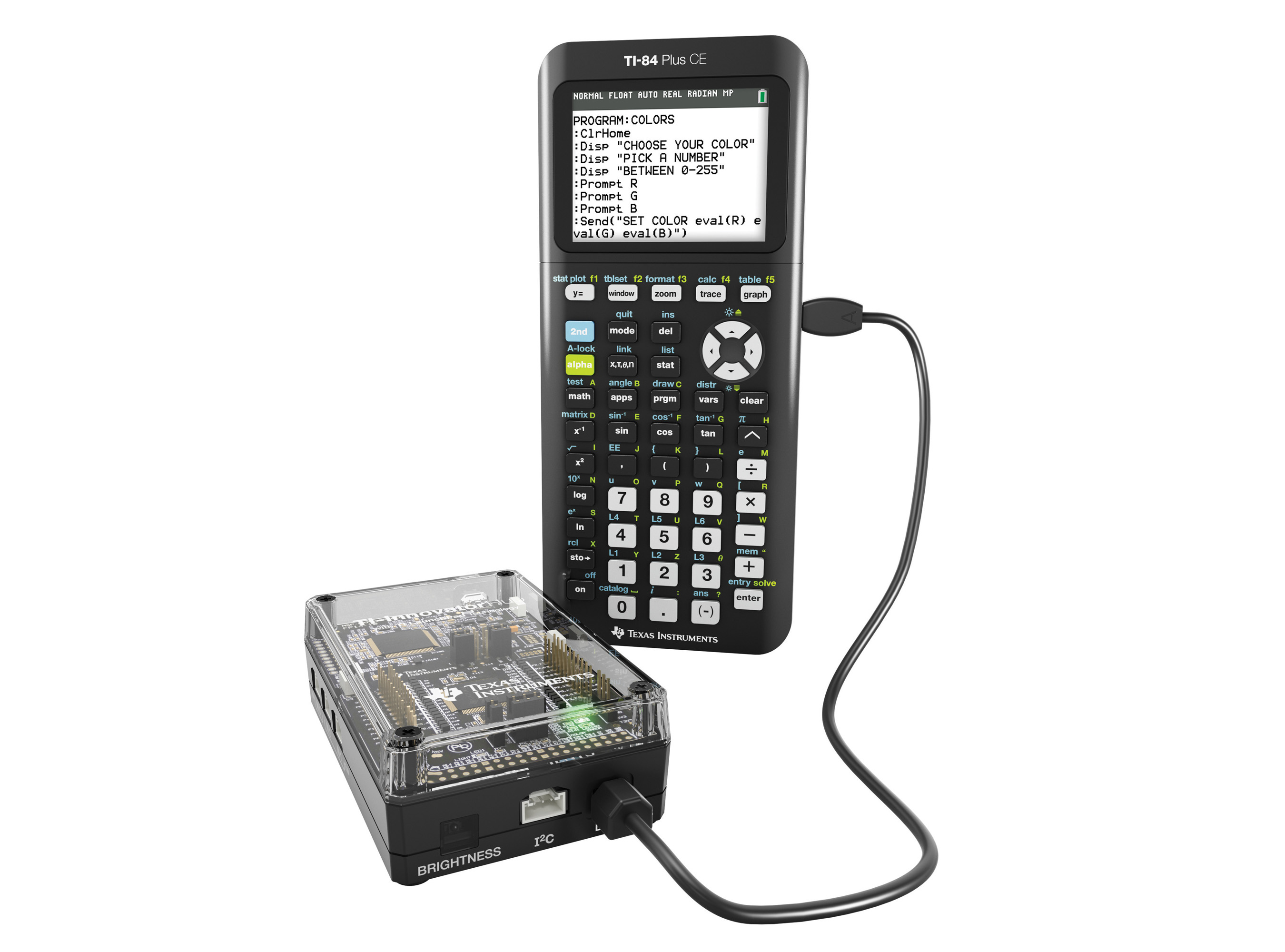 The new TI-Innovator Hub pairs with a TI-Nspire CX or TI-84 Plus Plus CE graphing calculator to bring STEM subjects to life.