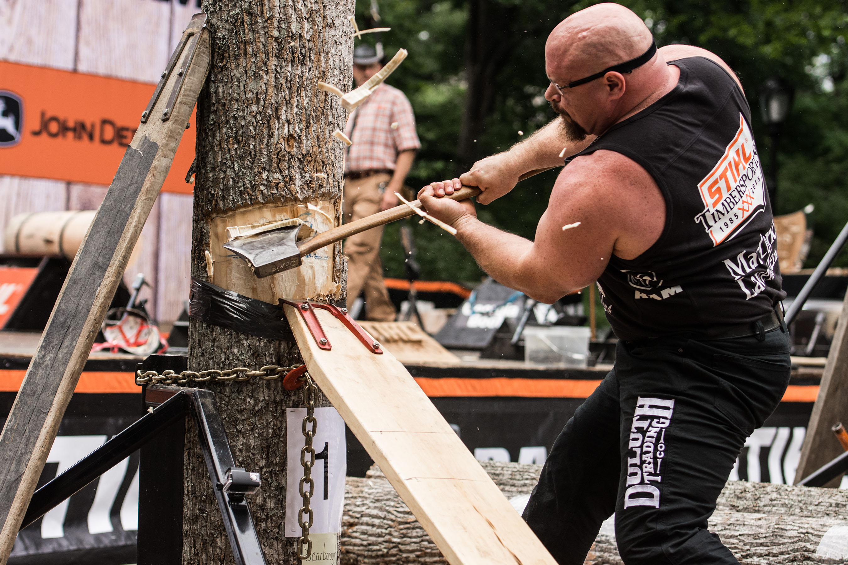 Above is an image of Arden Cogar, Jr. competing in the springboard chop at the 2015 U.S. Championship, which was held in Central Park, NYC.