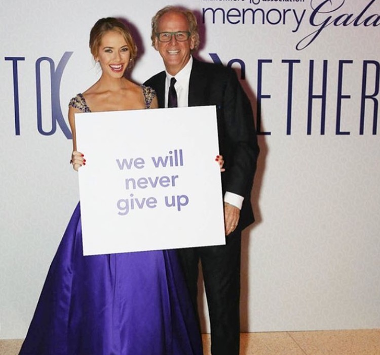 Miss USA 2015 Olivia Jordan showing support for Alzheimer's disease with her father Bob Thomas