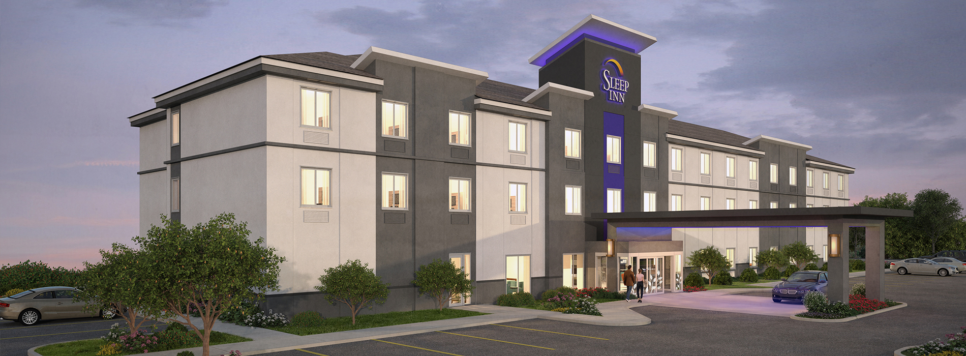 Sleep Inn's new simply stylish updates include a sleek, modernized tower, slimmed porte cochere, a warm gray exterior, LED accent lighting and nature-inspired door appliques.