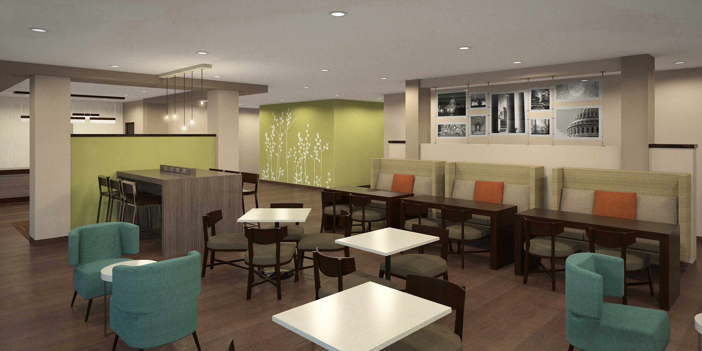 Stylish open public areas have versatile seating and communal tables with built-in charging capabilities, as well as semi-private banquettes.