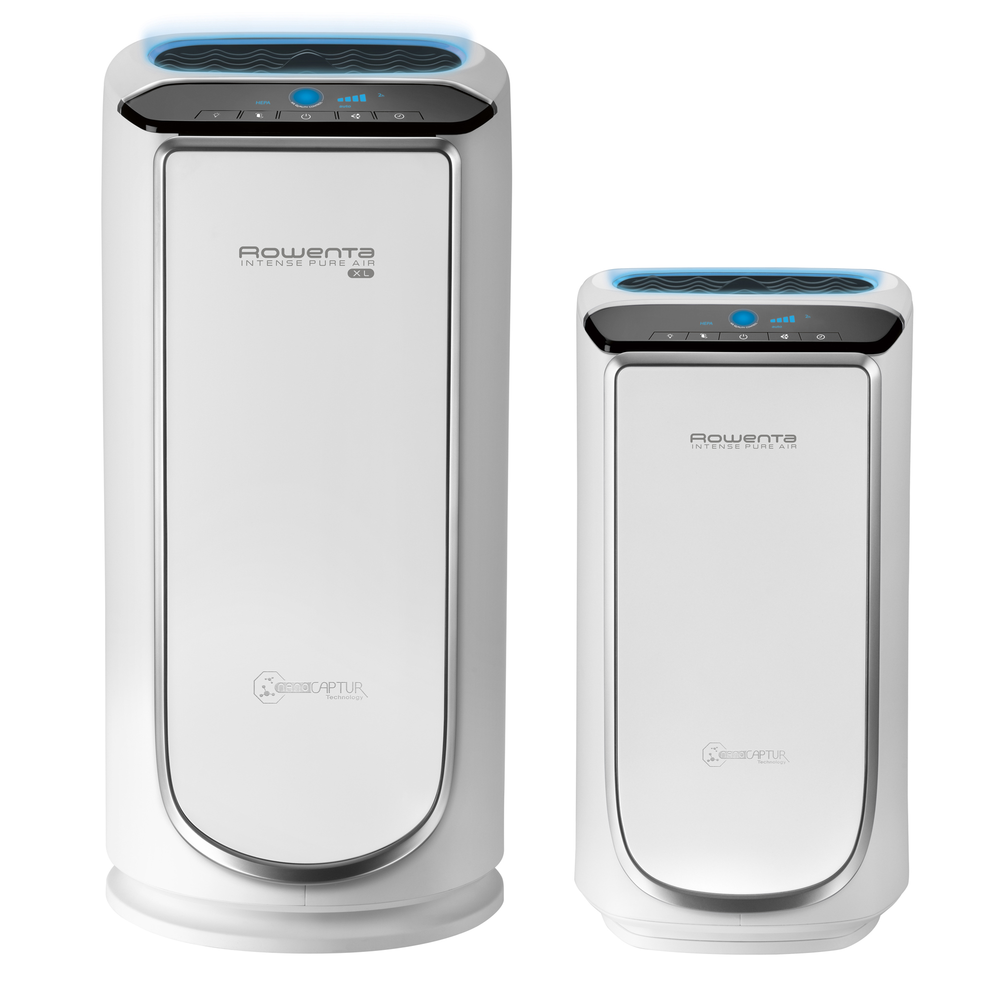 "The Rowenta Intense Pure Air is offered in two sizes: the ""Bedroom"" unit purifies up to 400 square feet and the ""XL Room"" unit purifies up to 835 square feet."
