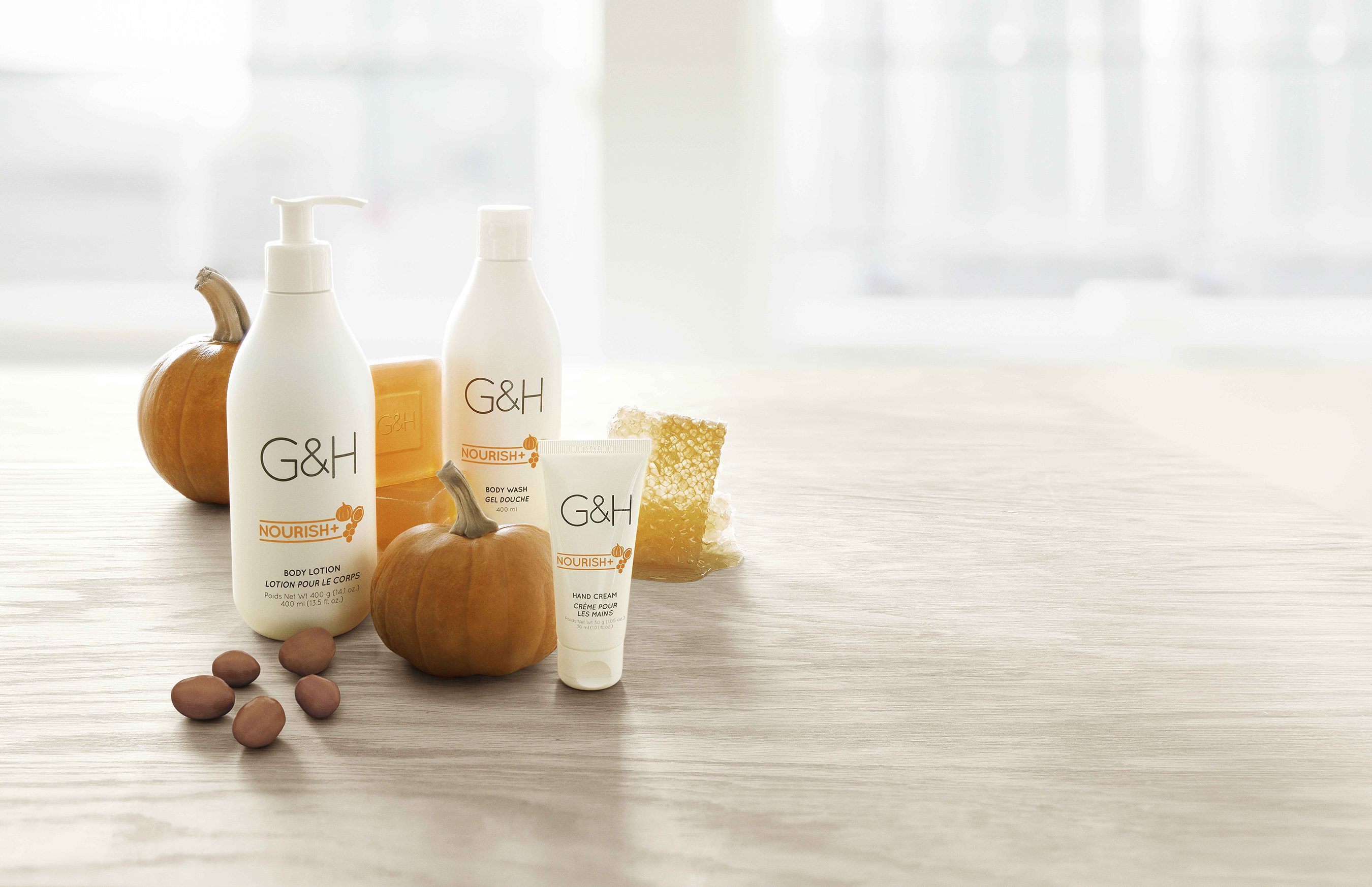 G&H Nourish+™ - Restorative body care helps nourish, comfort and maintain healthy looking skin with a rich, exclusive blend of naturally derived and botanical ingredients.
