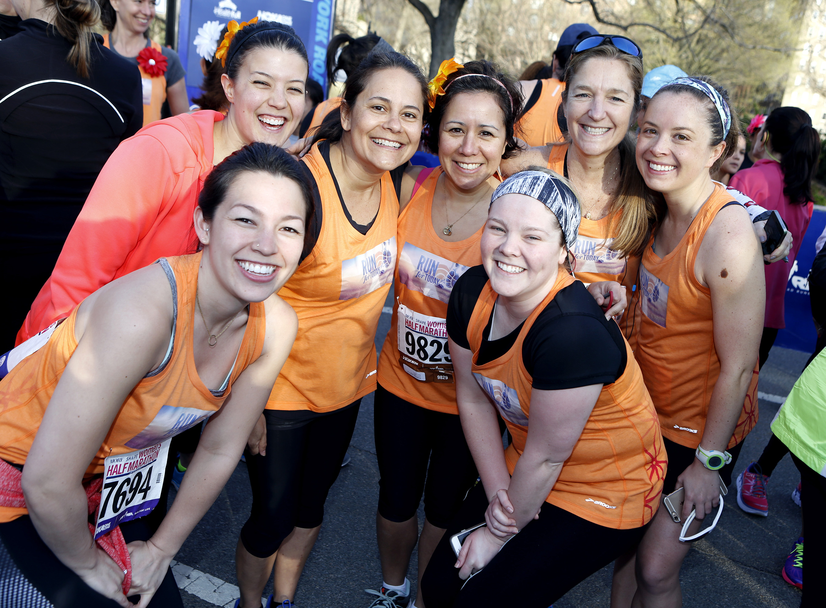 """Run for TODAY"" team members get ready to run the 12th Annual MORE/SHAPE Women's Half-Marathon in New York's Central Park on April 19, 2015."