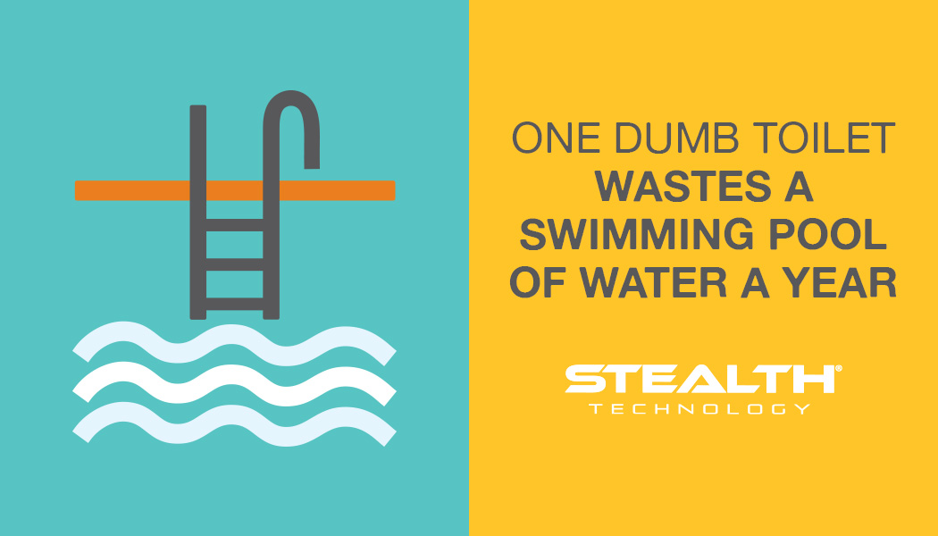 One dumb toilet wastes a swimming pool of water a year.