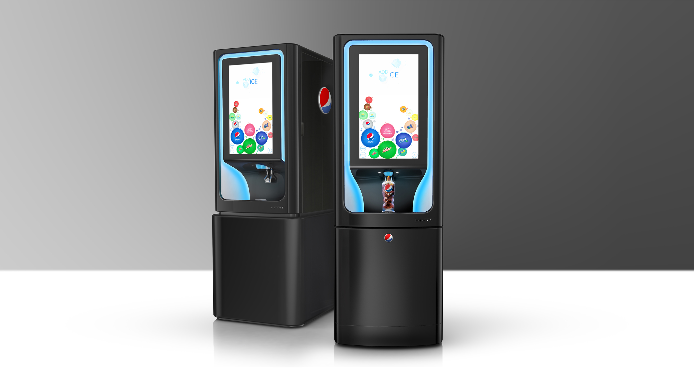Pepsi Spire, a state-of-the-art beverage dispensing fountain, puts hundreds of drink combinations at people's fingertips and can pour up to 3 flavor shots simultaneously with any featured beverage.
