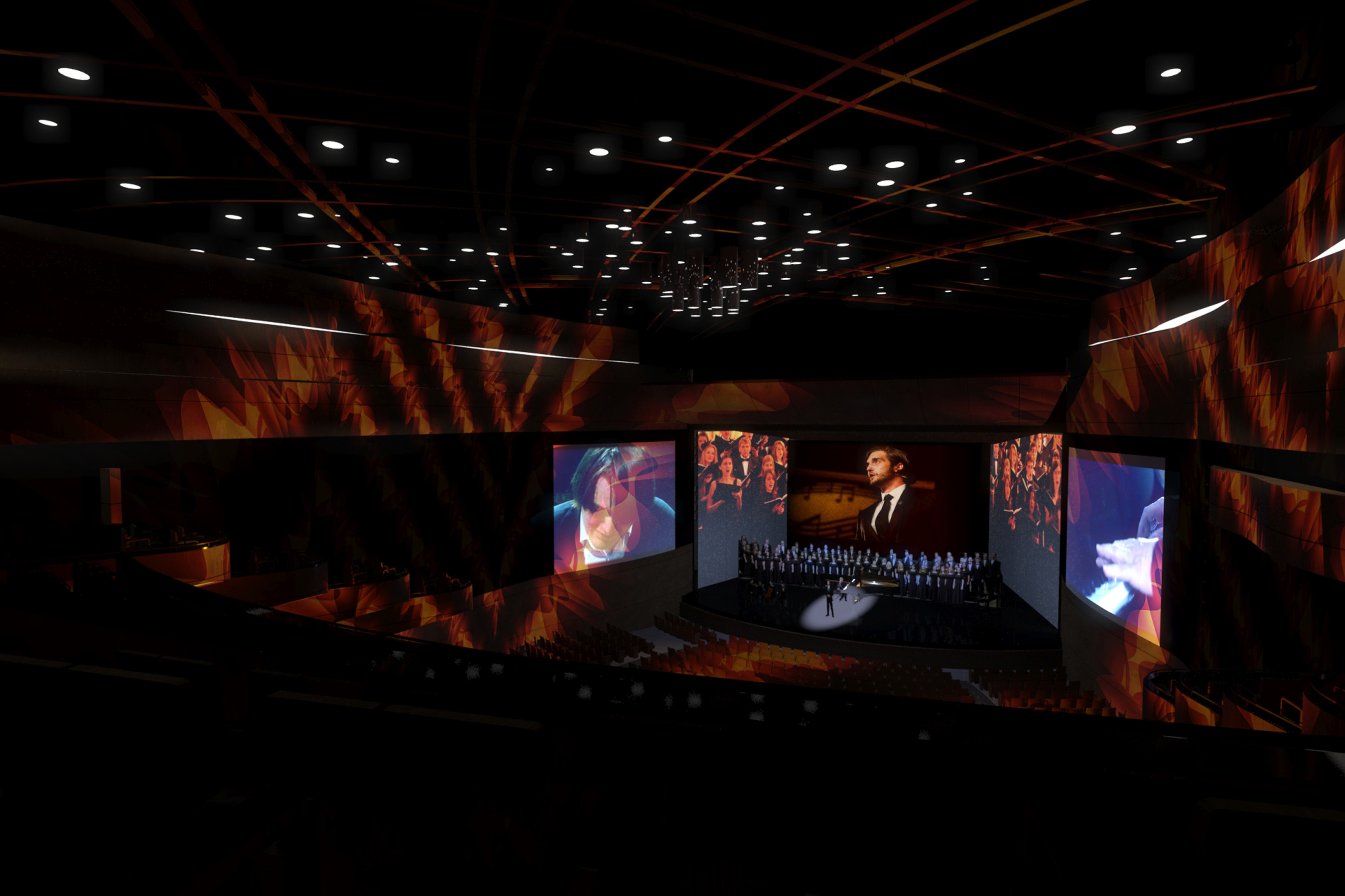 Rendering of the grand Performance Hall in The McKnight Center, complete with state-of-the-art technology
