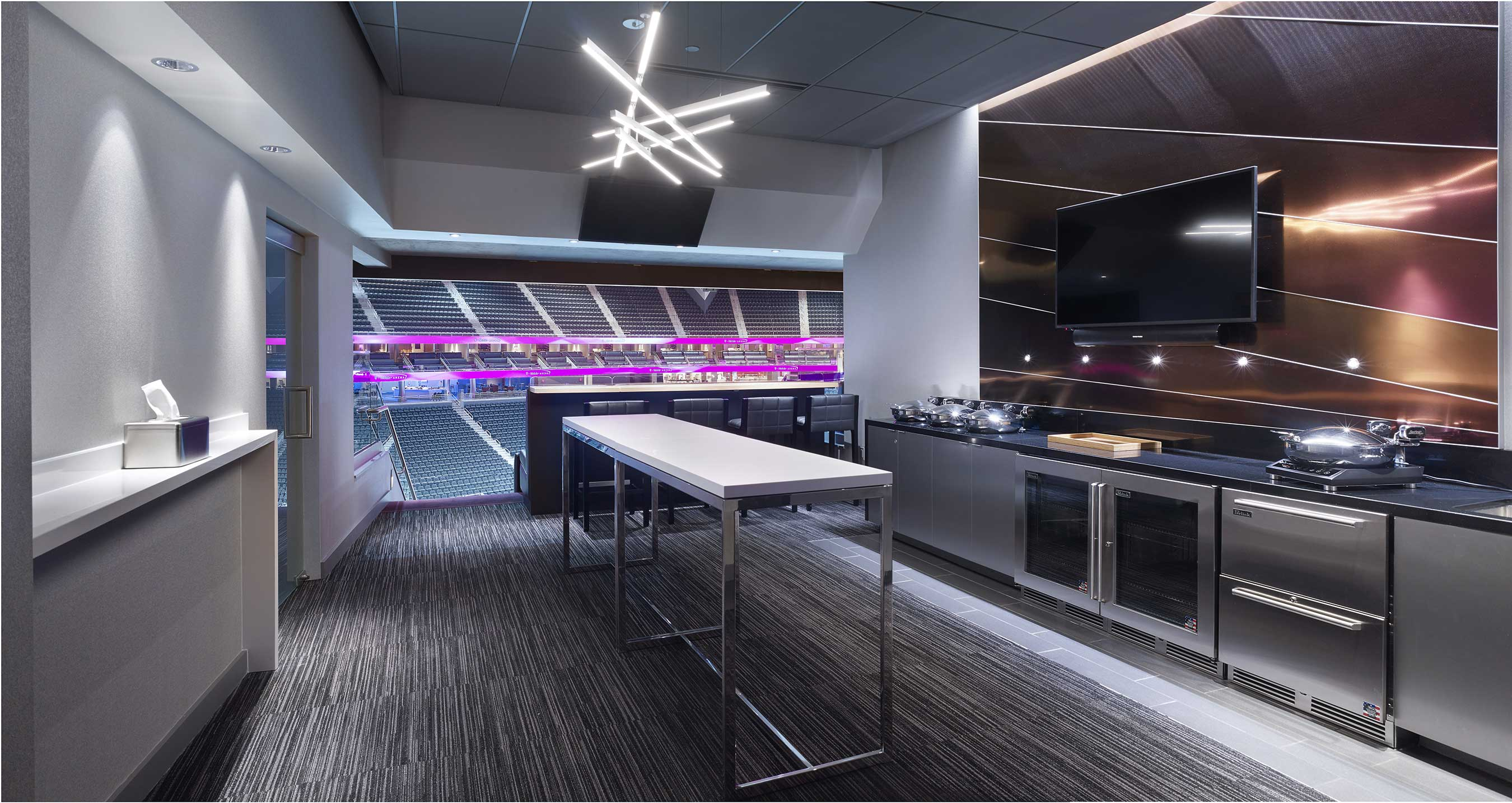 Forty-four loge boxes line the third level with seats for 16 guests, suite attendants and individual kitchenettes.