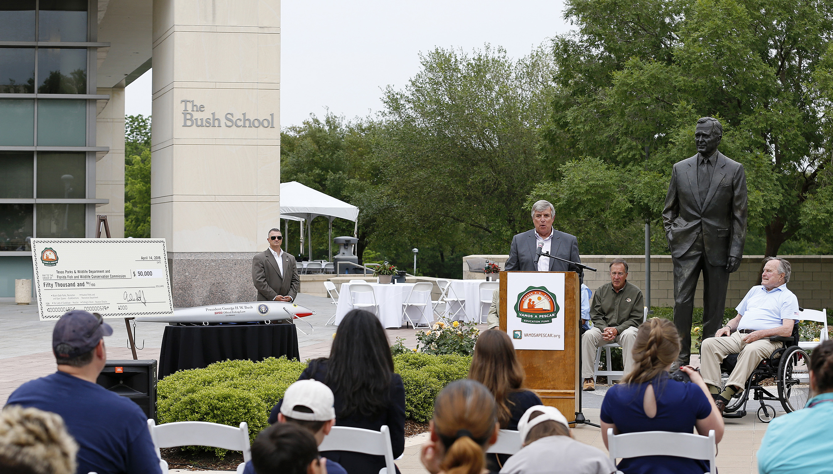 Frank Peterson, President and CEO of Recreational Boating & Fishing Foundation (RBFF), announces a donation to organizations bringing conservation, education and fishing and boating experiences to Hispanic families during a RBFF event at the George Bush Presidential Library on Thursday, April 14, 2016, in College Station, Texas. RBFF is a nonprofit organization whose mission is to increase participation in recreational angling and boating, thereby protecting and restoring the nation's aquatic natural resources. (Aaron M. Sprecher/AP Images for RBFF)